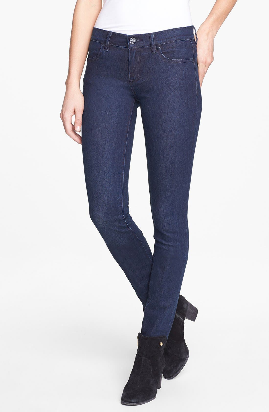 Main Image - Tory Burch Stretch Skinny Jeans (Rinse)