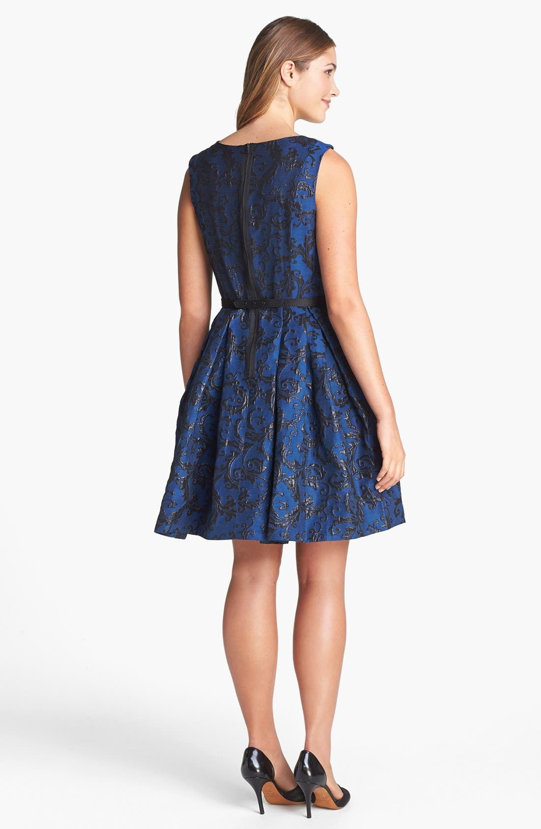 Alternate Image 2  - Taylor Dresses Metallic Jacquard Fit & Flare Dress