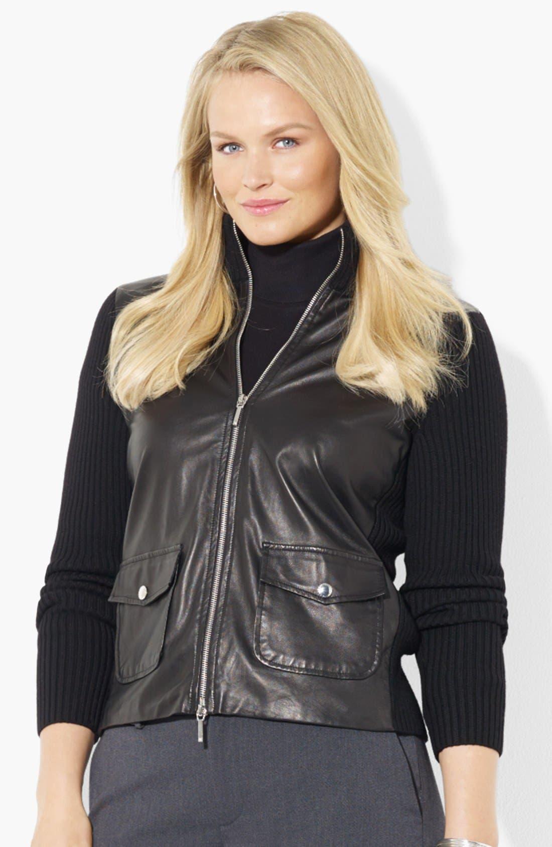 Main Image - Lauren Ralph Lauren Leather Front Cardigan (Plus Size)