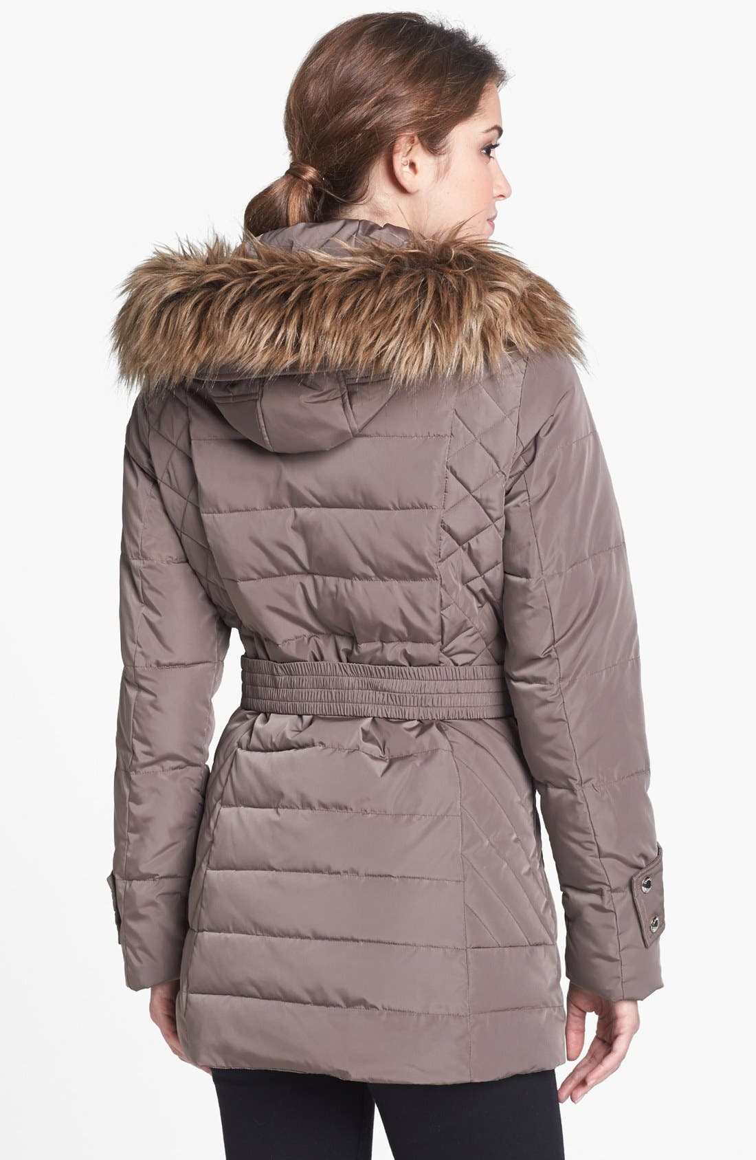 Alternate Image 2  - Calvin Klein Faux Fur Trim Quilted Jacket