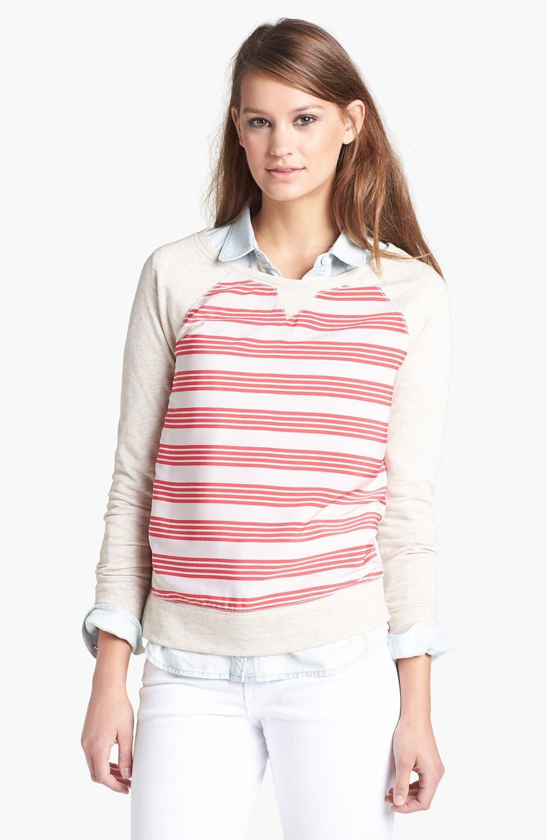 Alternate Image 1 Selected - Halogen® Stripe Front Sweatshirt