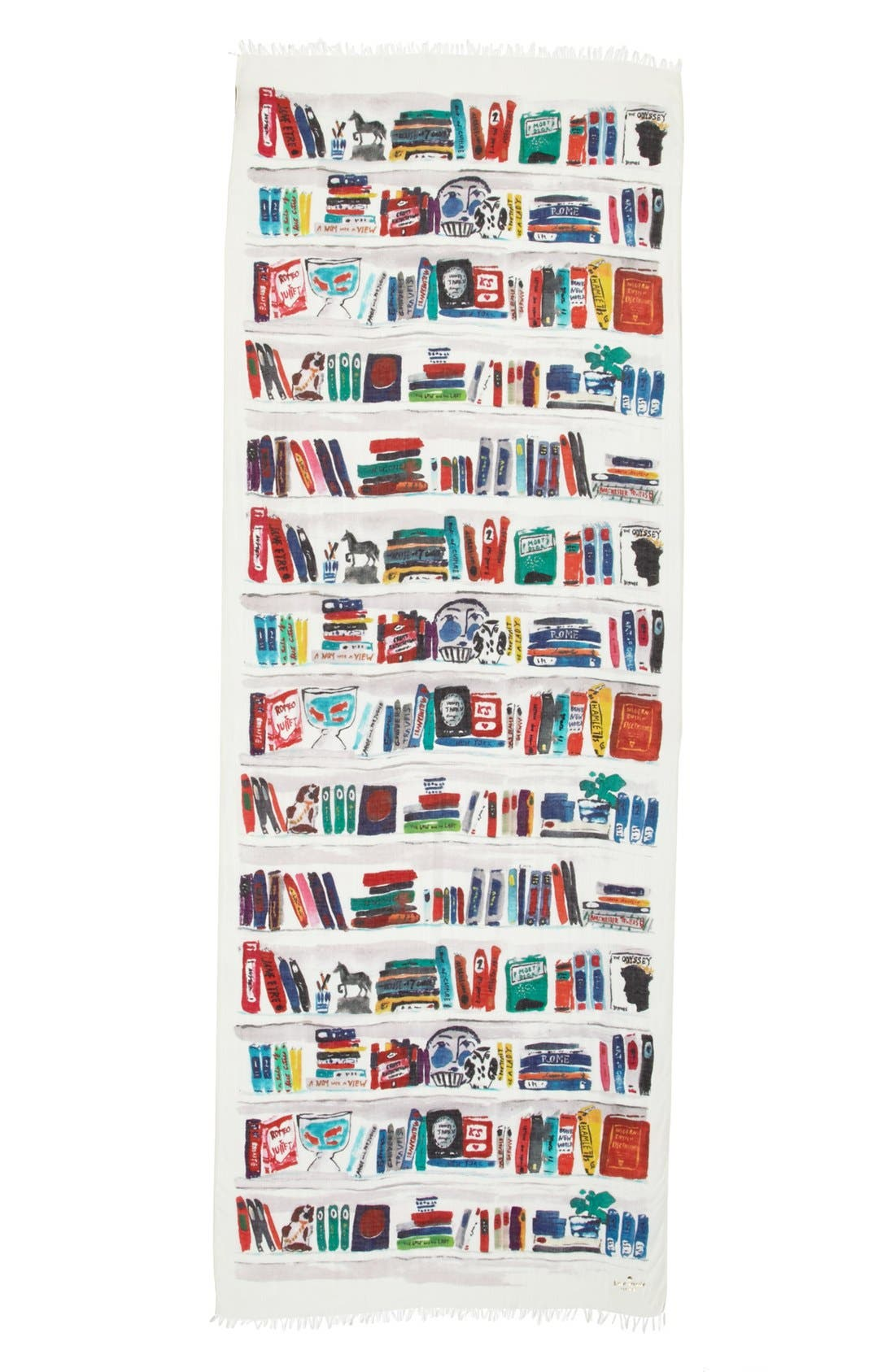 Alternate Image 2  - kate spade new york 'library illustration' scarf