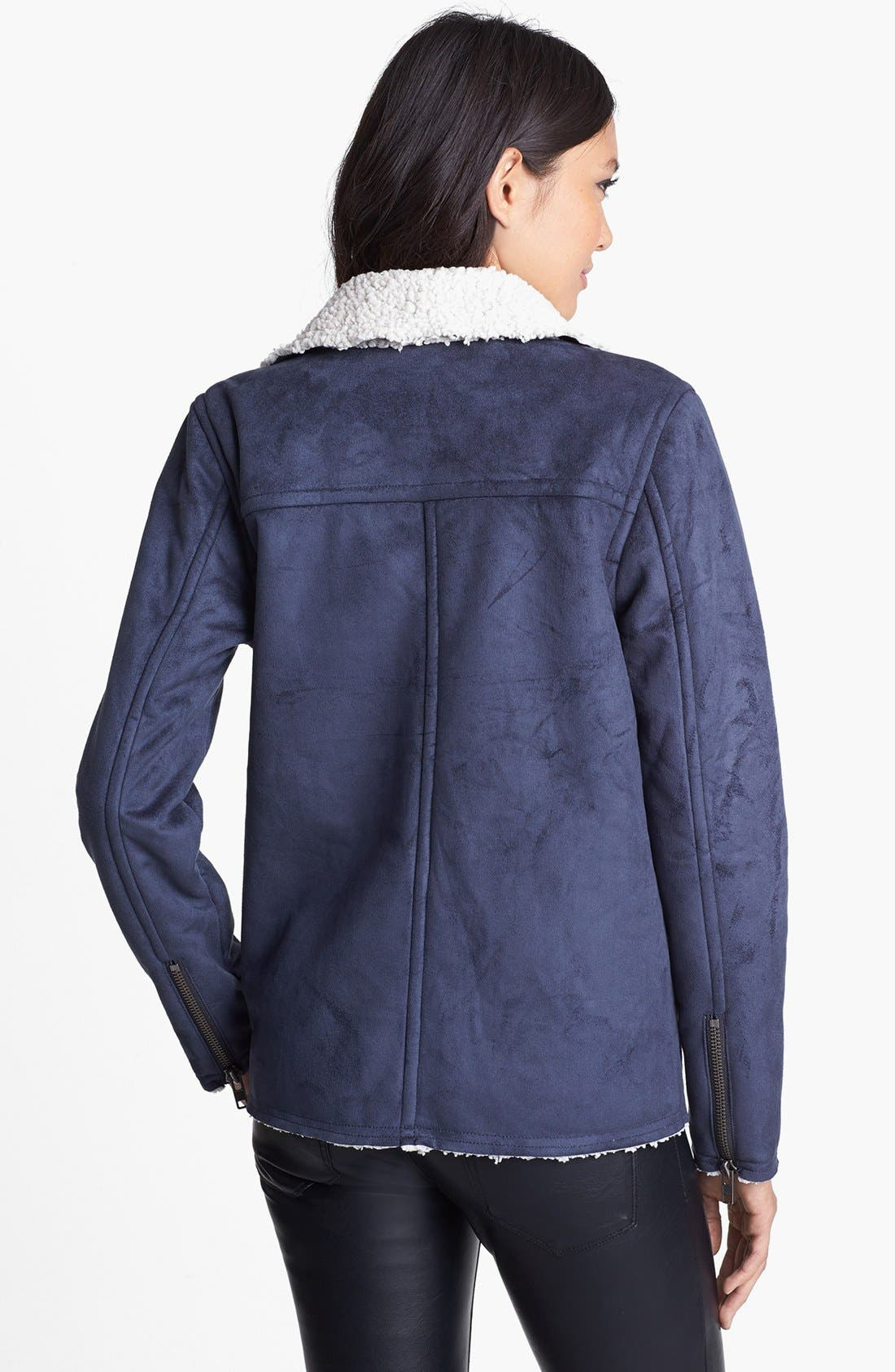 Alternate Image 2  - Leith Faux Shearling Lined Moto Jacket
