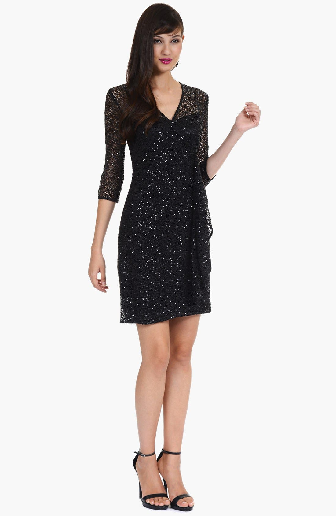 Main Image - Kay Unger Ruffled Sequin Lace Dress