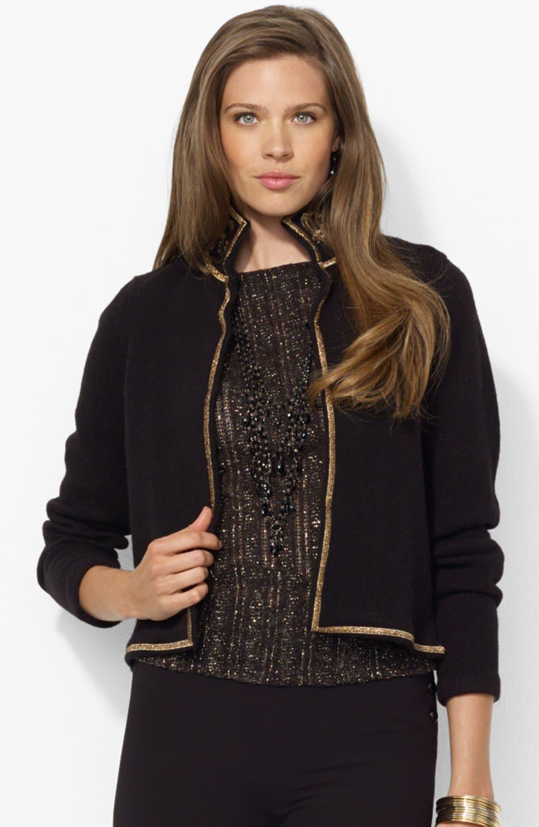 Alternate Image 1 Selected - Lauren Ralph Lauren Embroidered Collar Cardigan