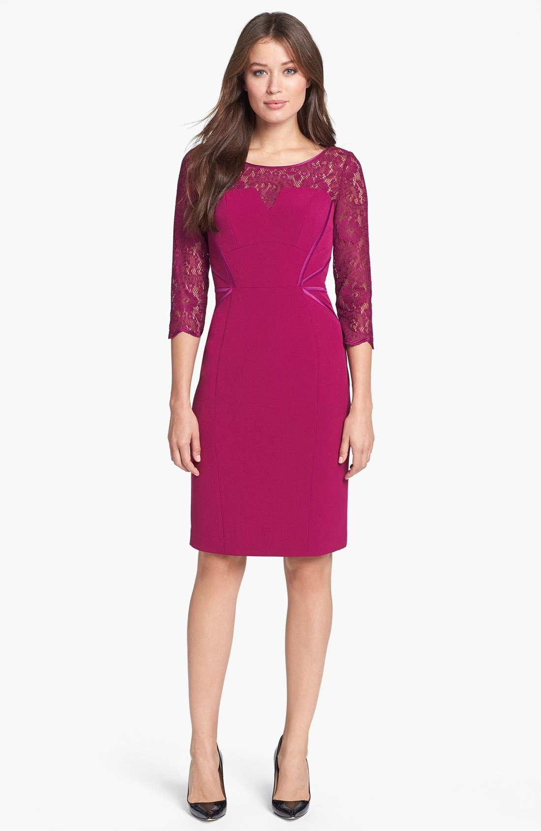 Alternate Image 1 Selected - Adrianna Papell Lace Yoke Crepe Sheath Dress