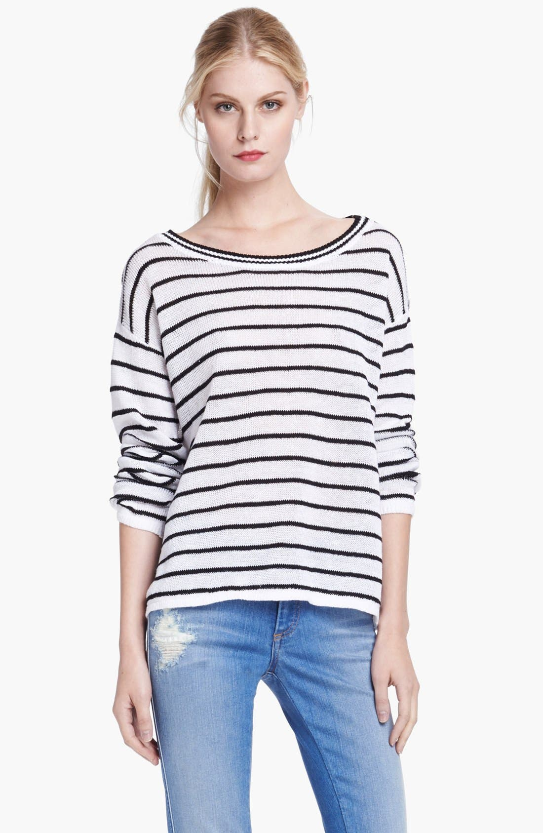 Alternate Image 1 Selected - Alice + Olivia Boxy Pinstripe Sweater