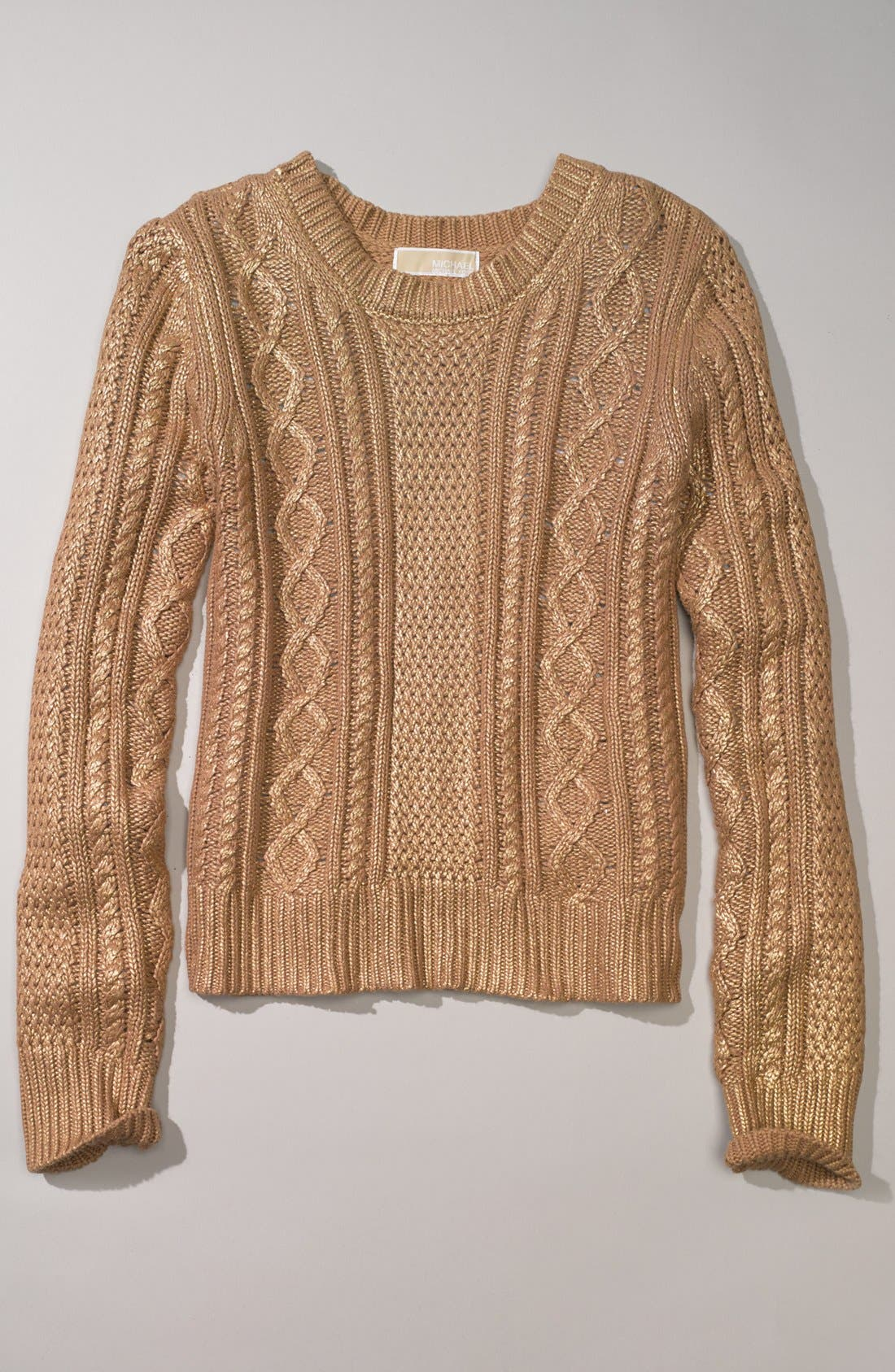 Alternate Image 4  - MICHAEL Michael Kors Foiled Cable Knit Cotton Blend Sweater