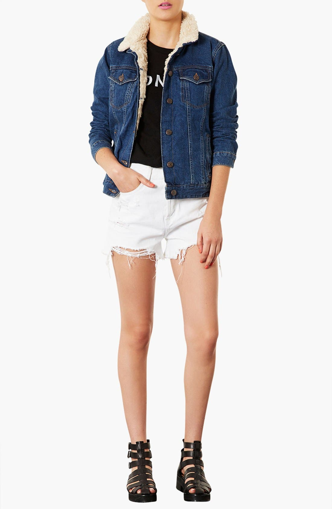 Alternate Image 4  - Topshop Moto Fleece Lined Denim Jacket