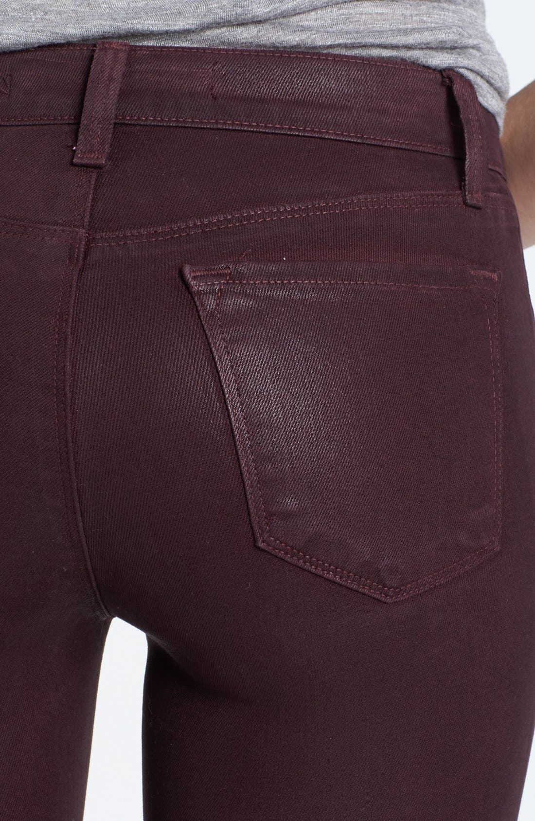 Alternate Image 3  - J Brand '485' Coated Skinny Jeans (Laquered Pinot)