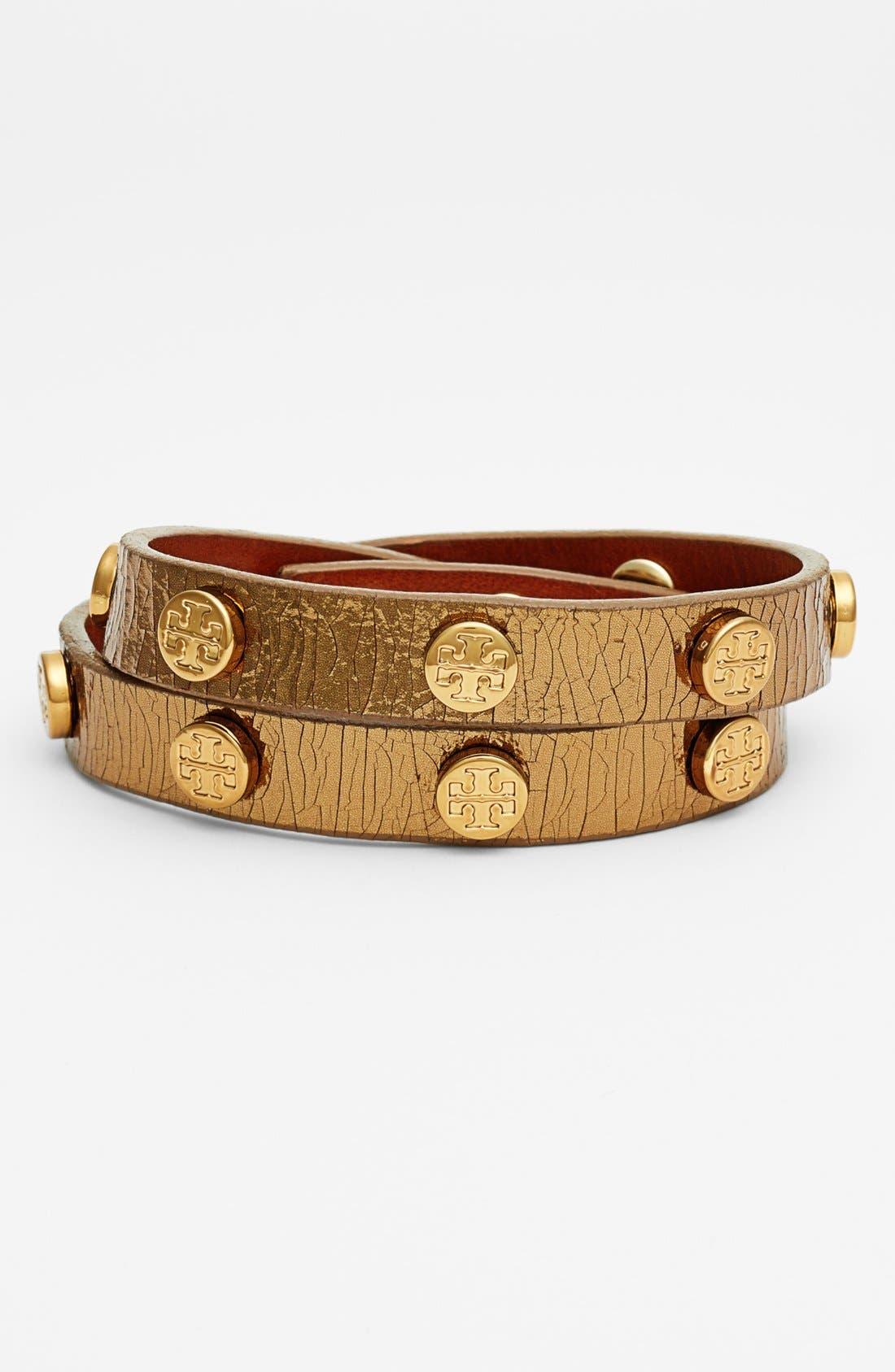 Main Image - Tory Burch Logo Metallic Leather Wrap Bracelet