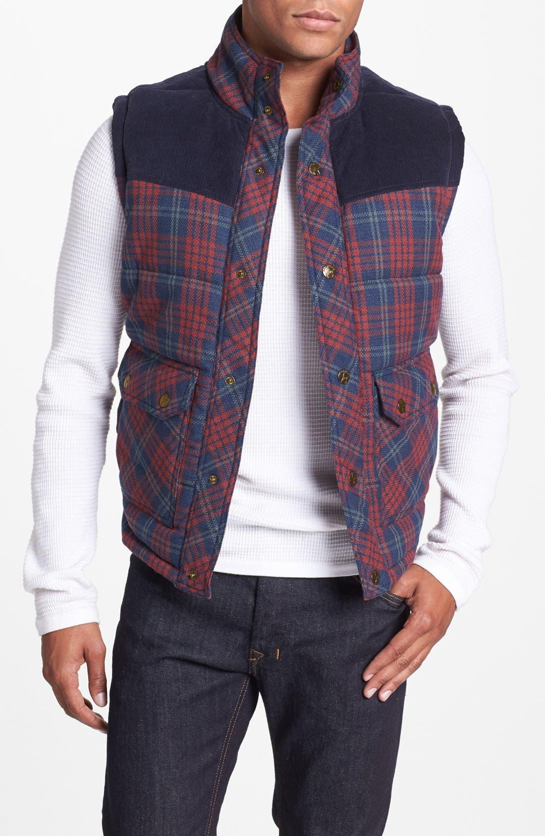 Main Image - Kane & Unke Quilted Plaid Vest with Corduroy Yokes