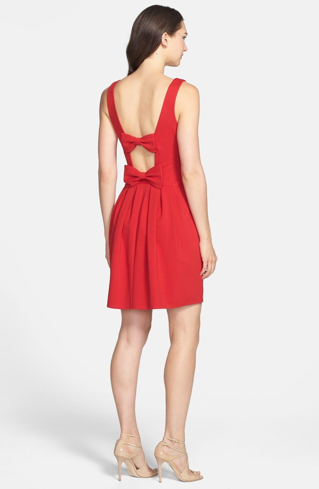 Alternate Image 2  - Betsey Johnson Bow Detail Ponte Fit & Flare Dress