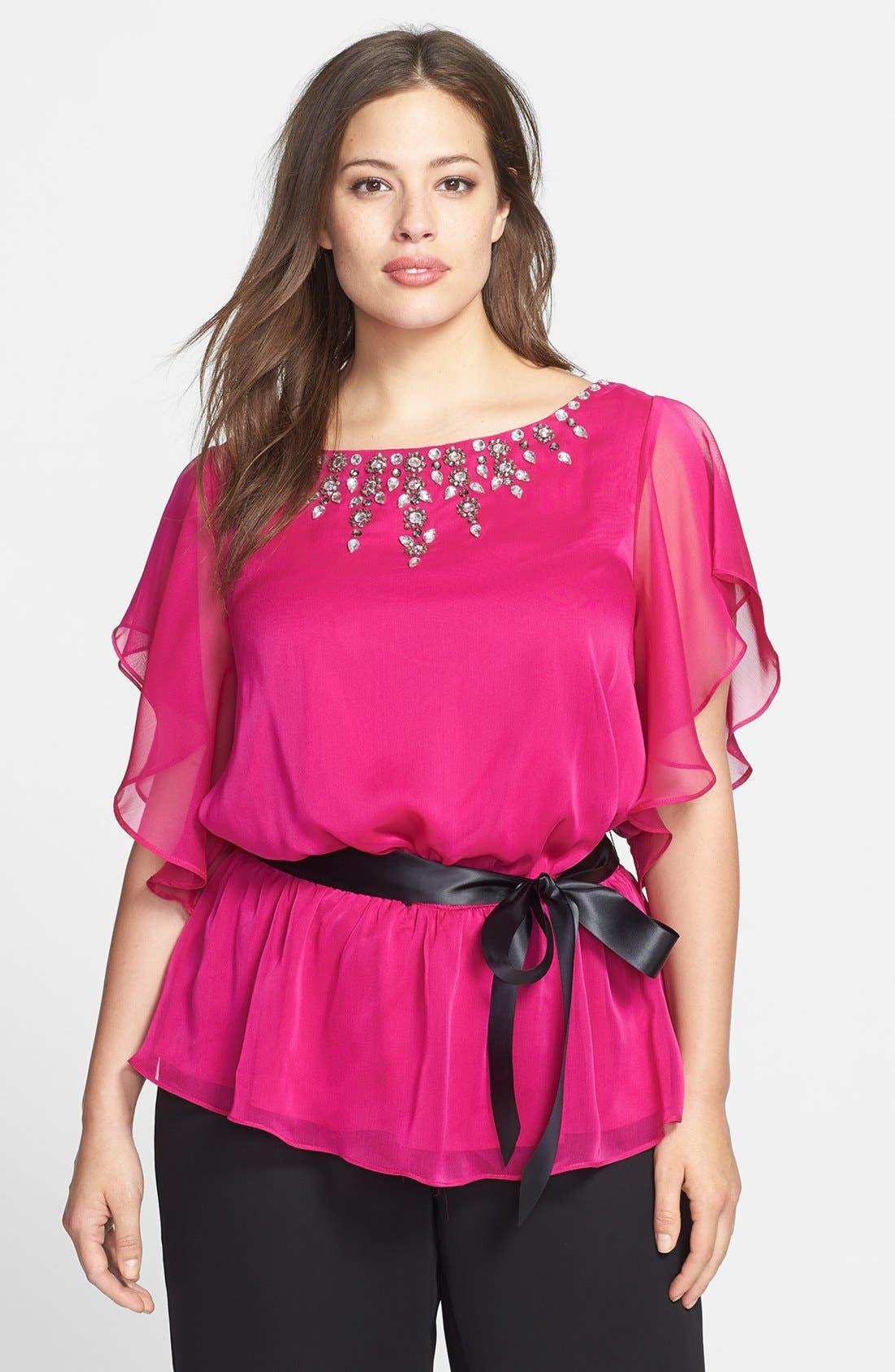 Alternate Image 1 Selected - Adrianna Papell Jeweled Chiffon Blouse (Plus Size)