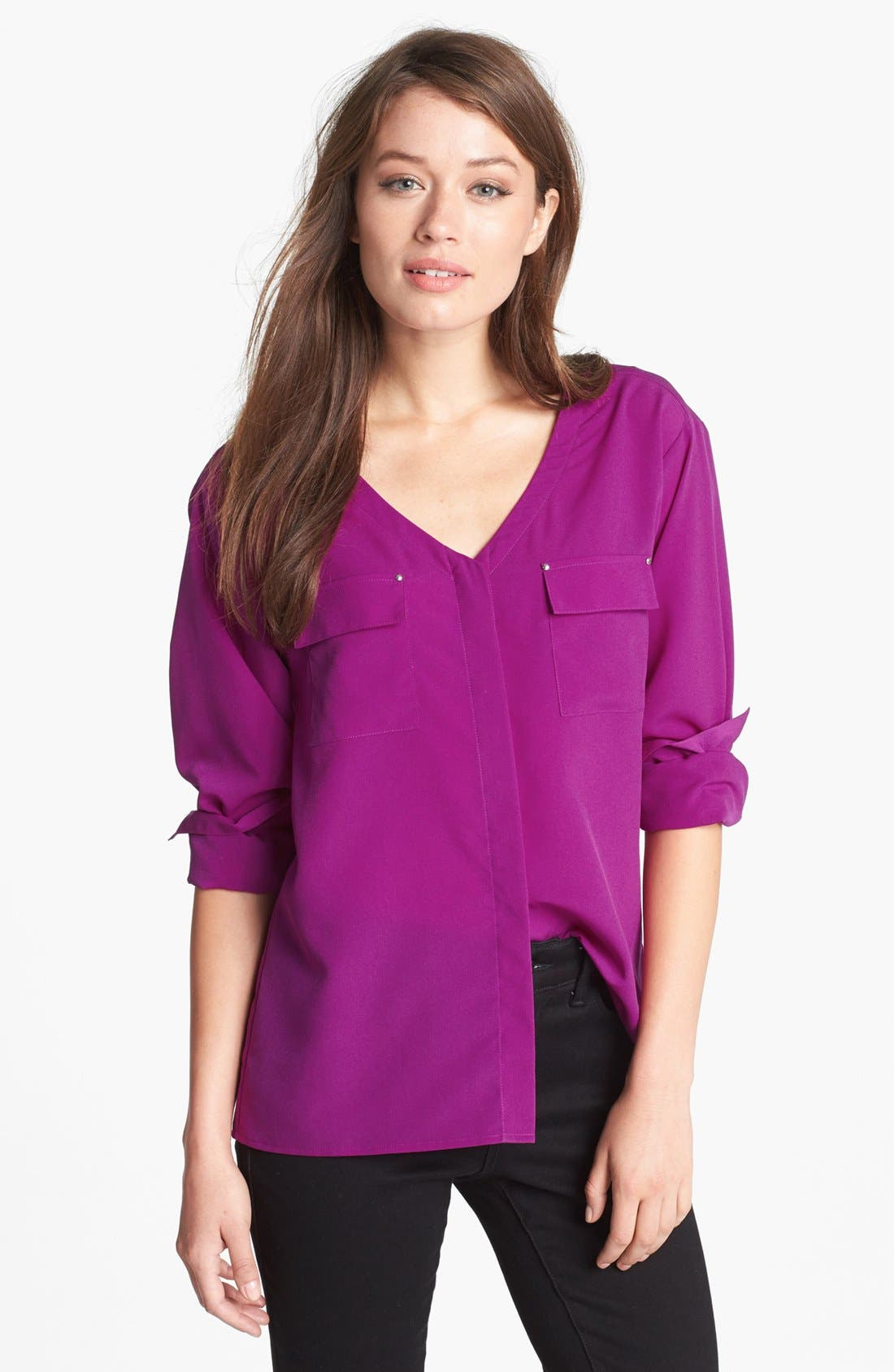 Alternate Image 1 Selected - Anne Klein V-Neck Shirt