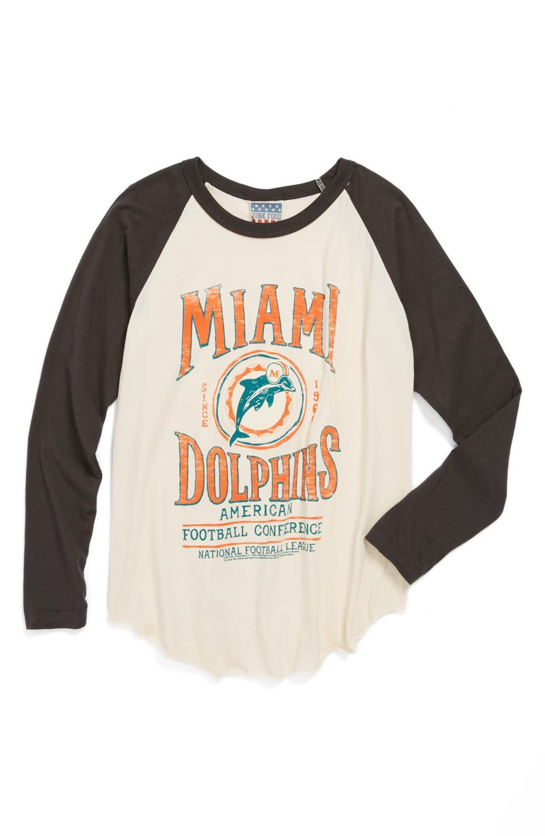 Alternate Image 1 Selected - Junk Food 'Miami Dolphins' Raglan Long Sleeve T-Shirt (Little Boys & Big Boys)