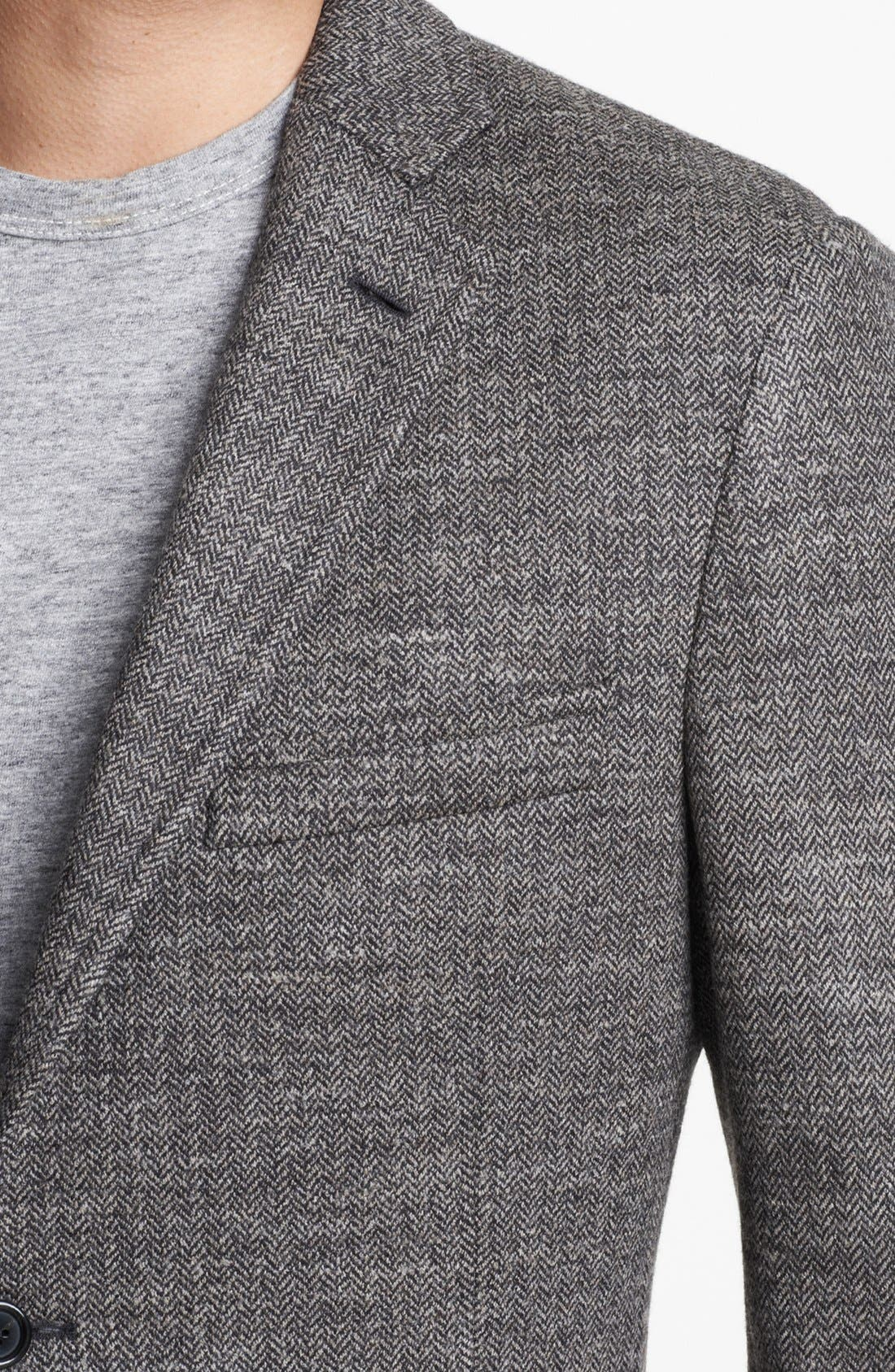 Alternate Image 2  - Todd Snyder Grey Wool Herringbone Blazer