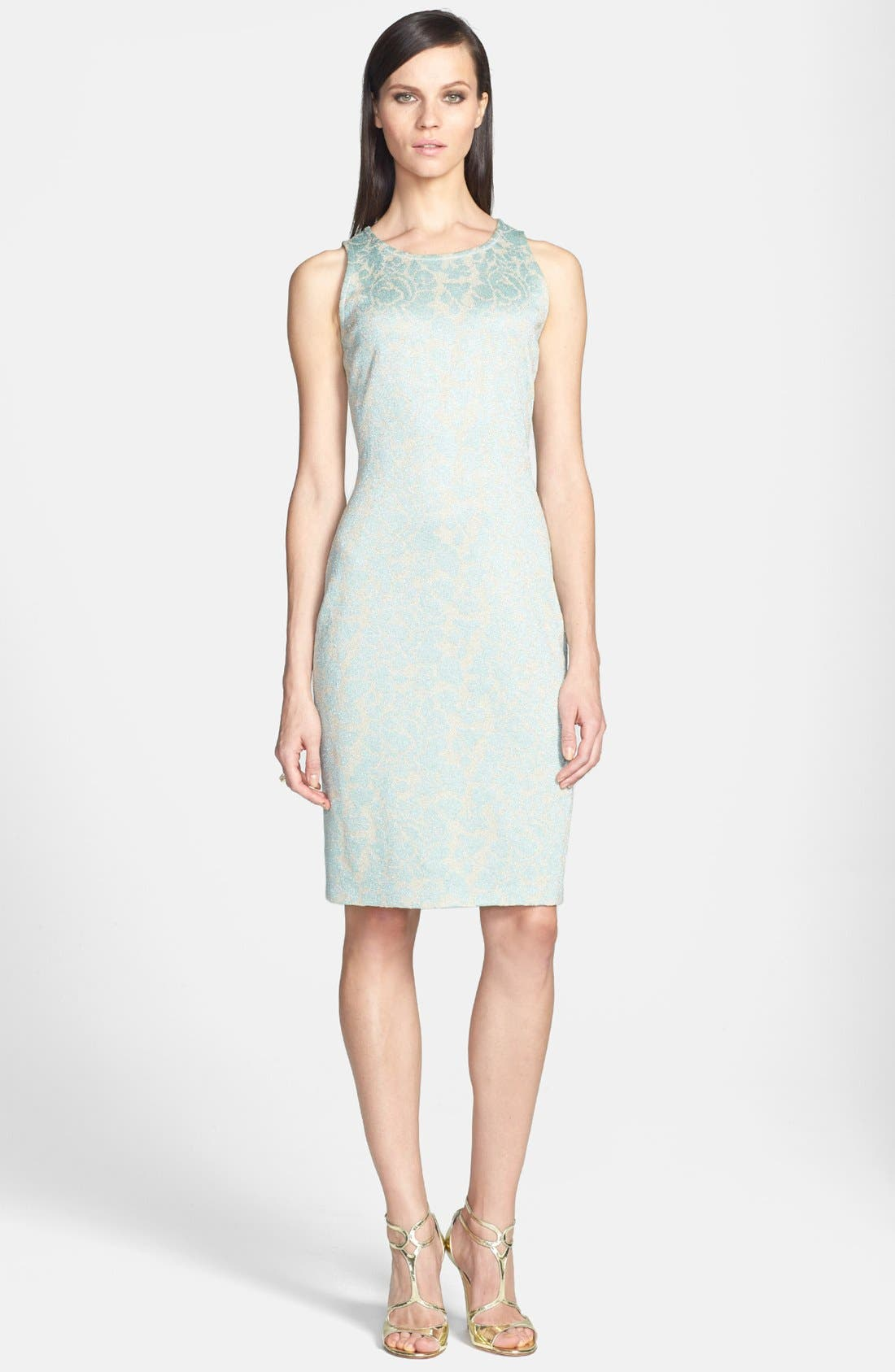Main Image - St. John Collection Metallic Floral Jacquard Knit Sheath Dress