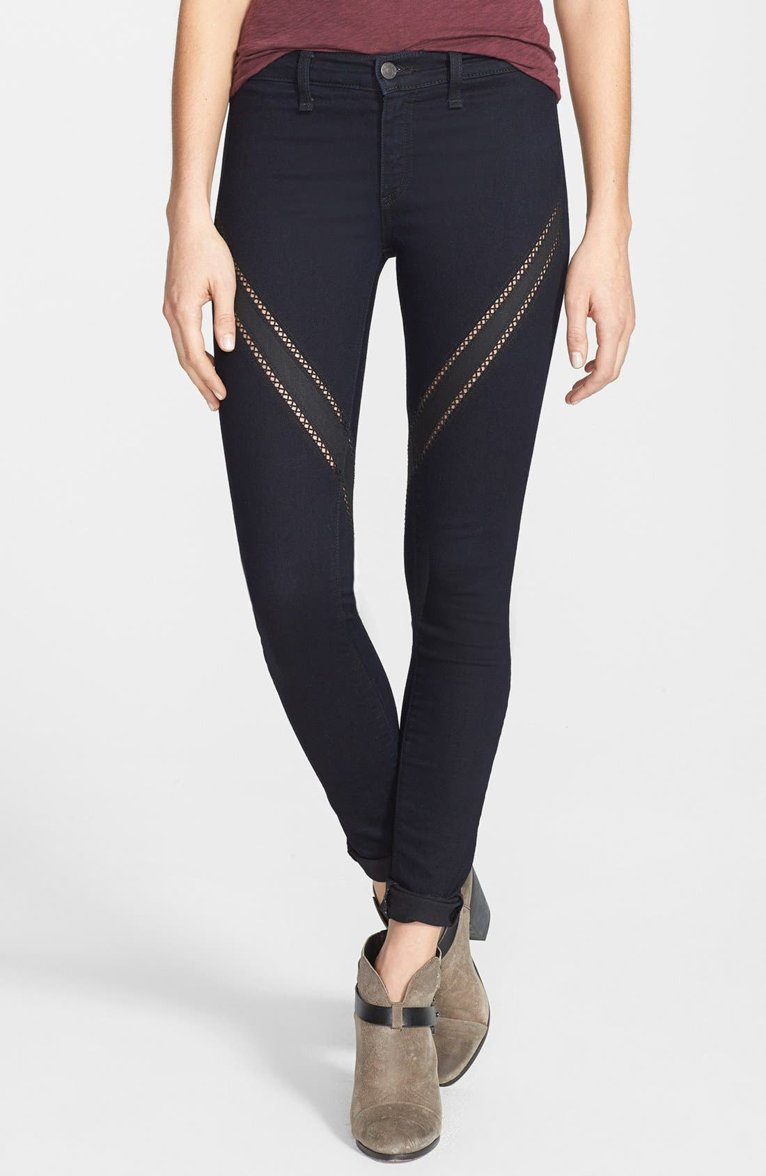Main Image - rag & bone/JEAN Ribbon Trim Skinny Jeans (Midnight)