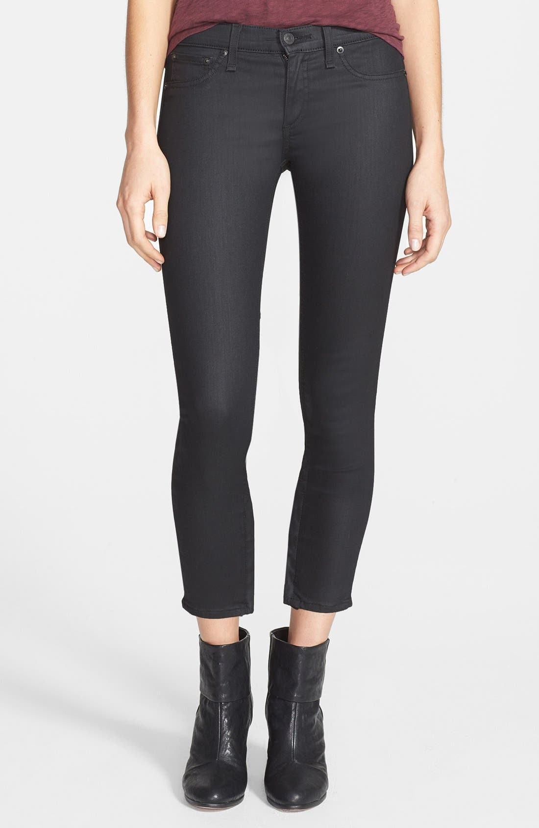 Main Image - rag & bone/JEAN Coated Zip Cuff Crop Jeans (Cotswald)