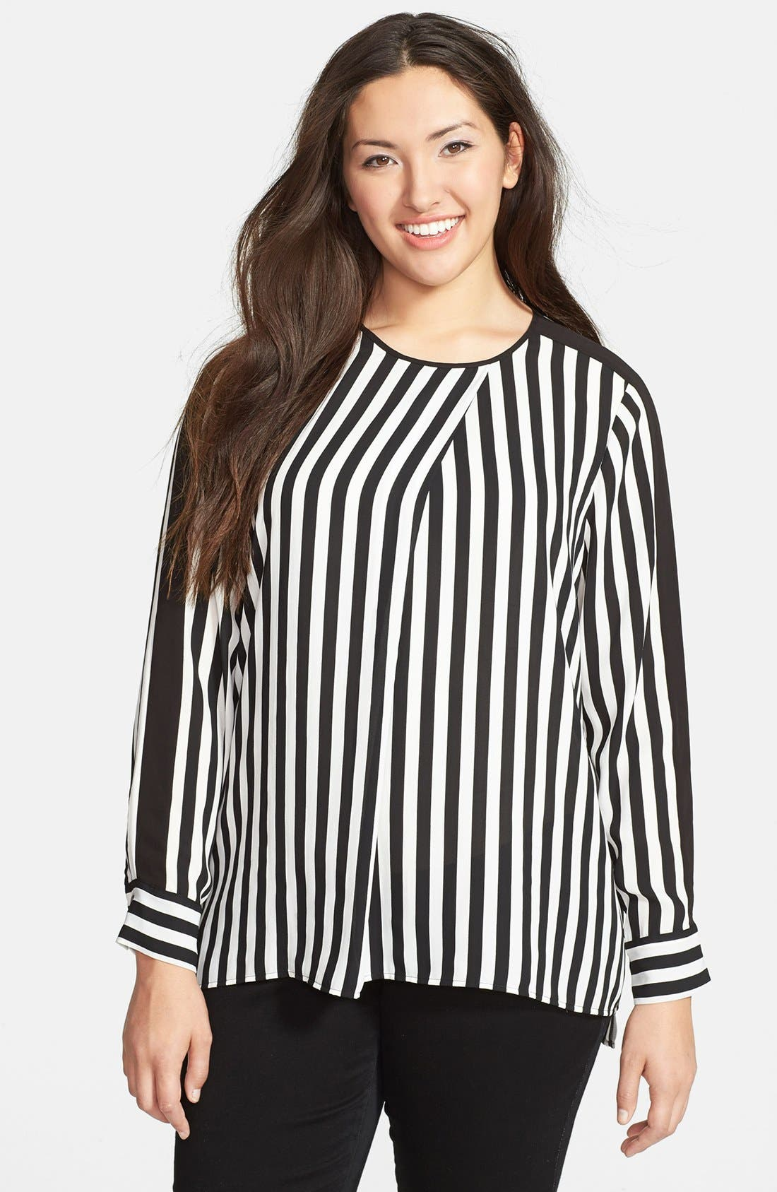 Alternate Image 1 Selected - Vince Camuto Seamline Stripe Shirttail Blouse (Plus Size)