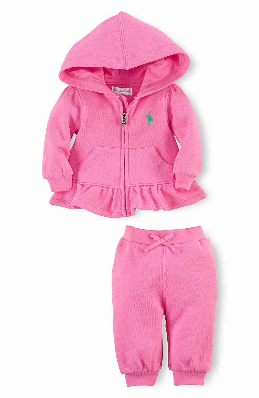 Alternate Image 2  - Ralph Lauren French Terry Two Piece Set (Baby Girls)