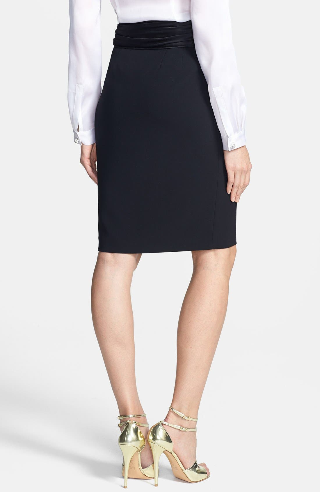 Alternate Image 4  - St. John Collection Crepe Marocain Pencil Skirt with Liquid Satin Bow