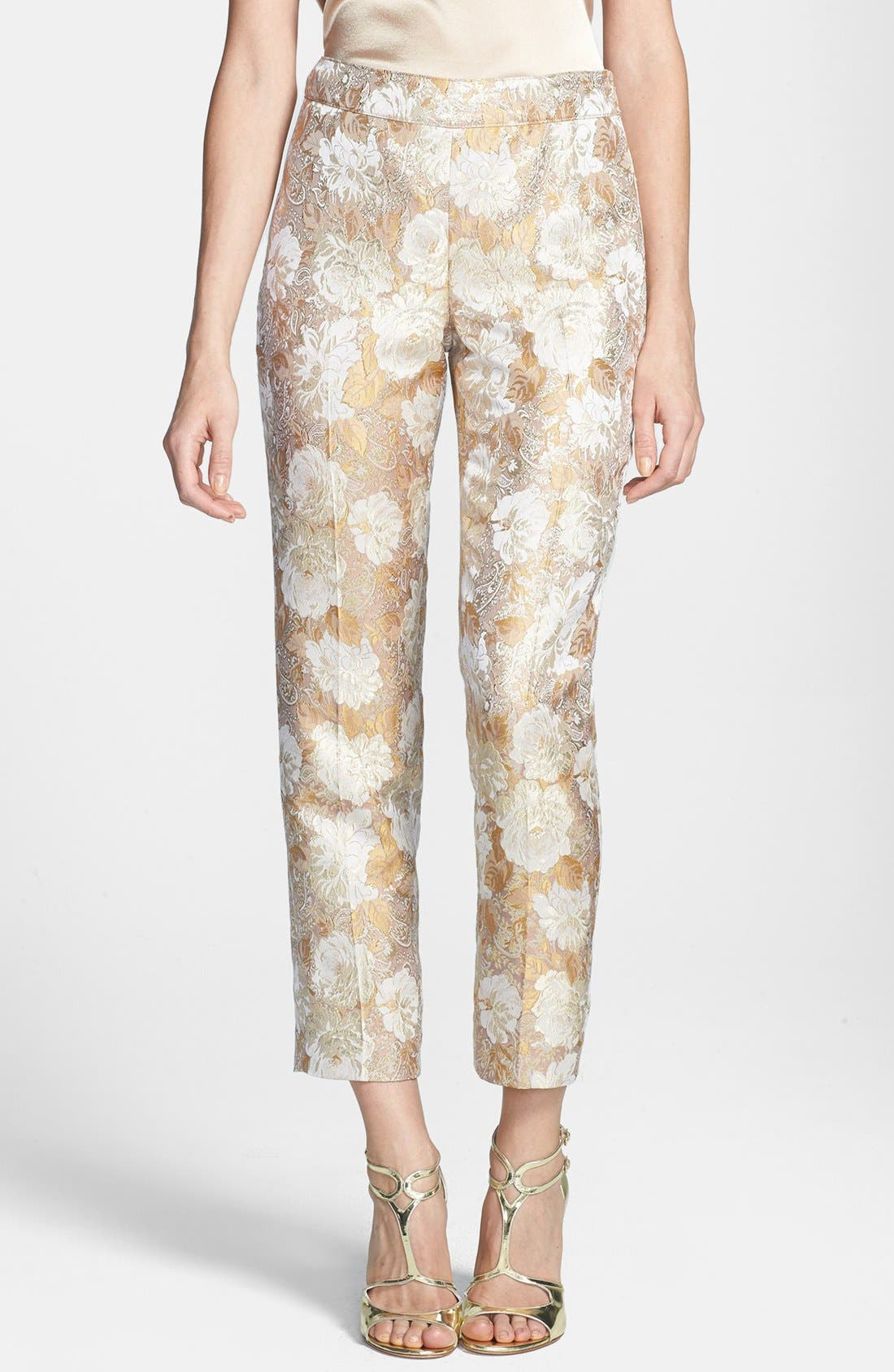 Main Image - St. John Collection 'Emma' Side Zip Floral Brocade Crop Pants