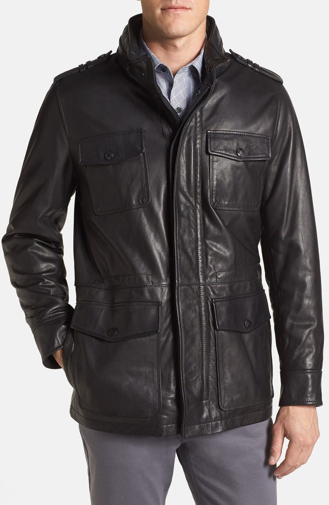 Alternate Image 1 Selected - Vince Camuto Leather Field Jacket