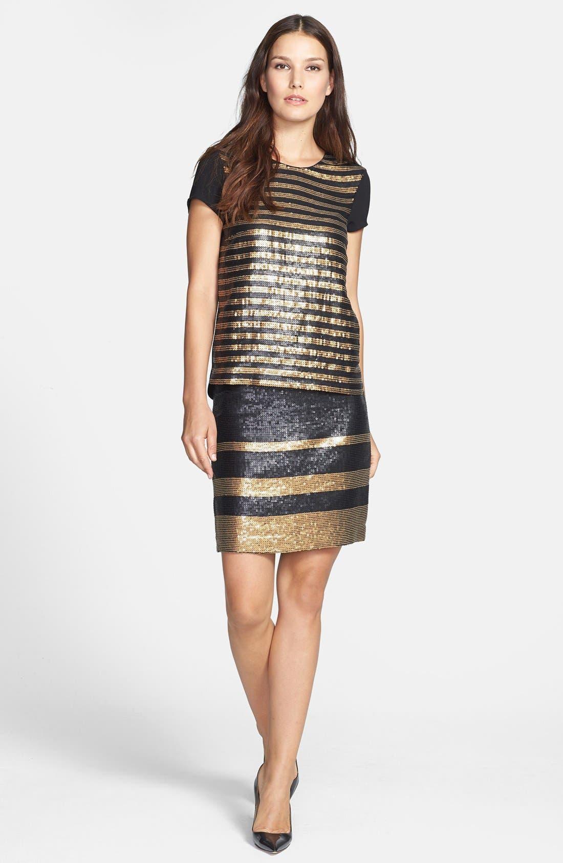 Alternate Image 3  - Adrianna Papell Stripe Sequin Pencil Skirt