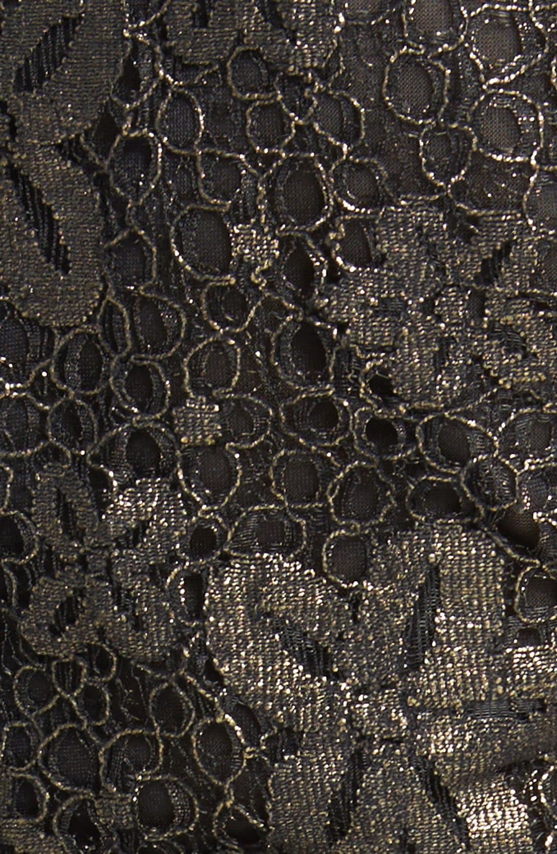 Alternate Image 3  - Blu Pepper Cutout Metallic Lace Skater Dress (Juniors)