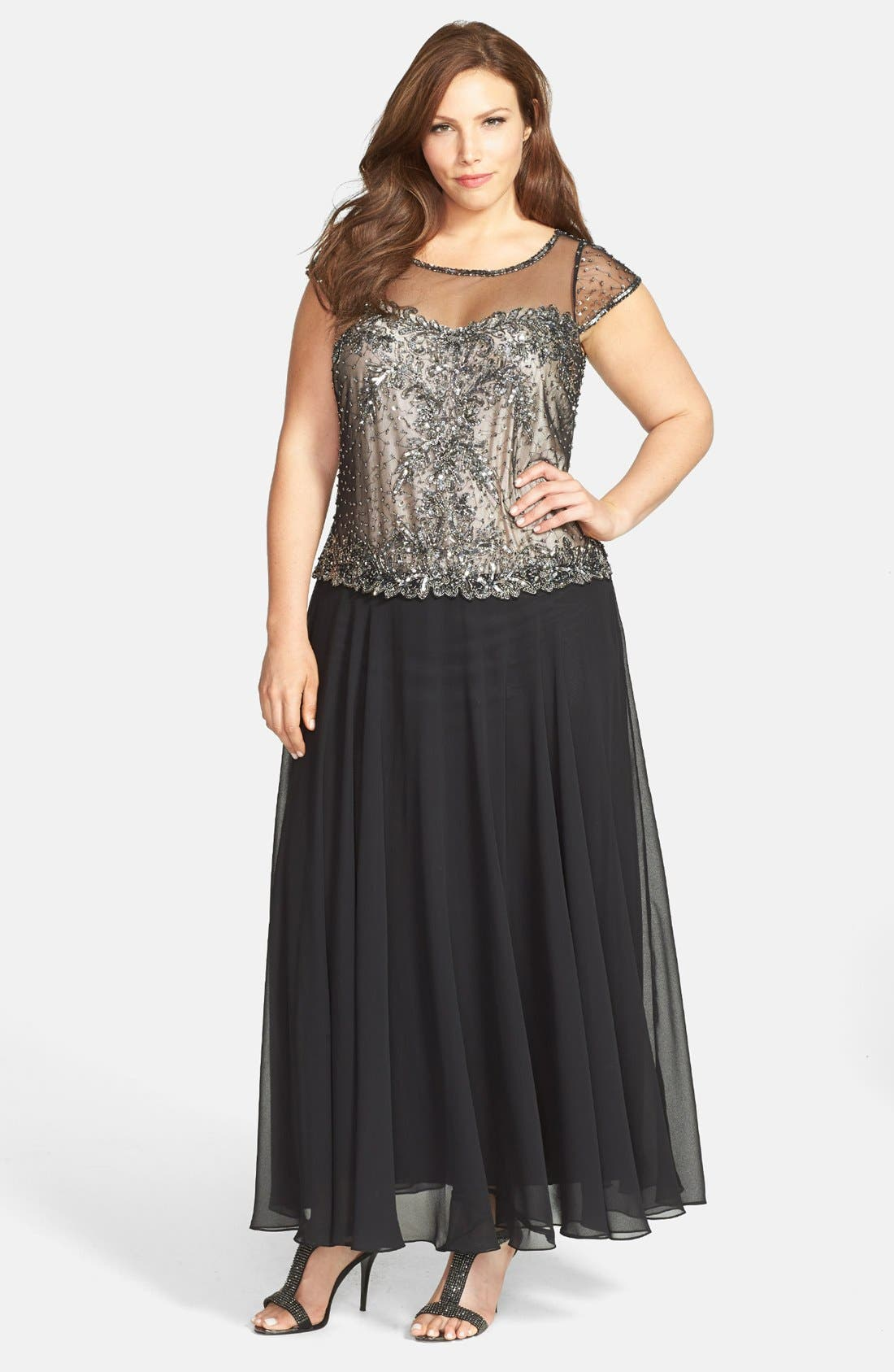 Alternate Image 1 Selected - J Kara Embellished Chiffon Gown (Plus Size)