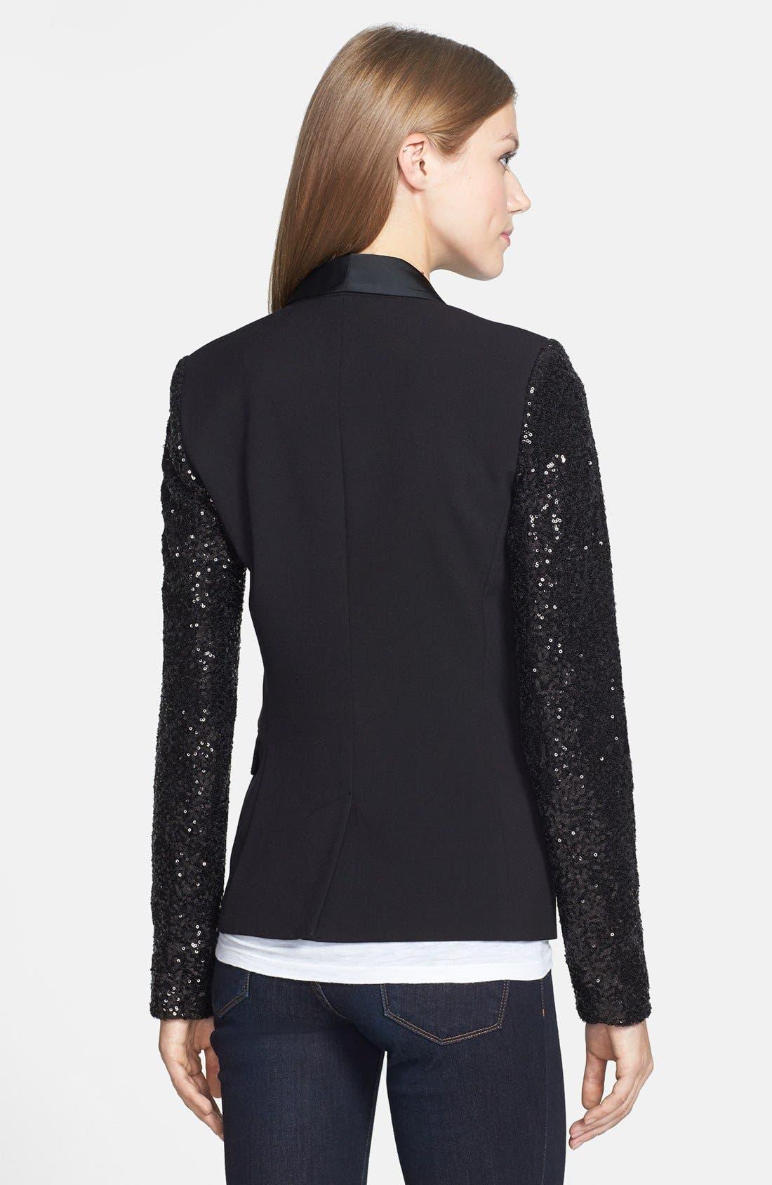 Alternate Image 2  - MICHAEL Michael Kors Sequin Sleeve Tuxedo Blazer