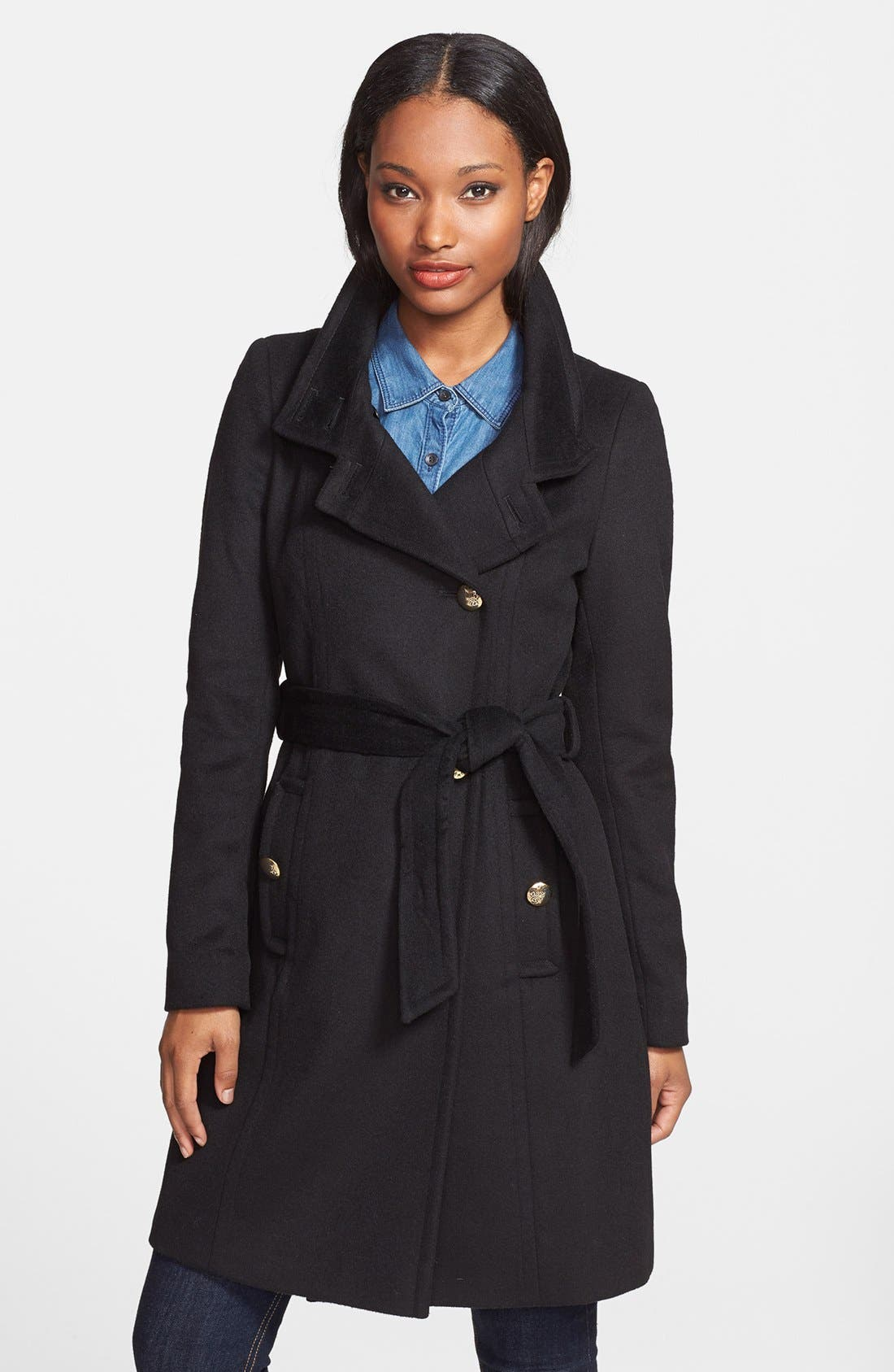 Main Image - T Tahari 'Izzy' Asymmetrical Wool Blend Coat (Online Only)