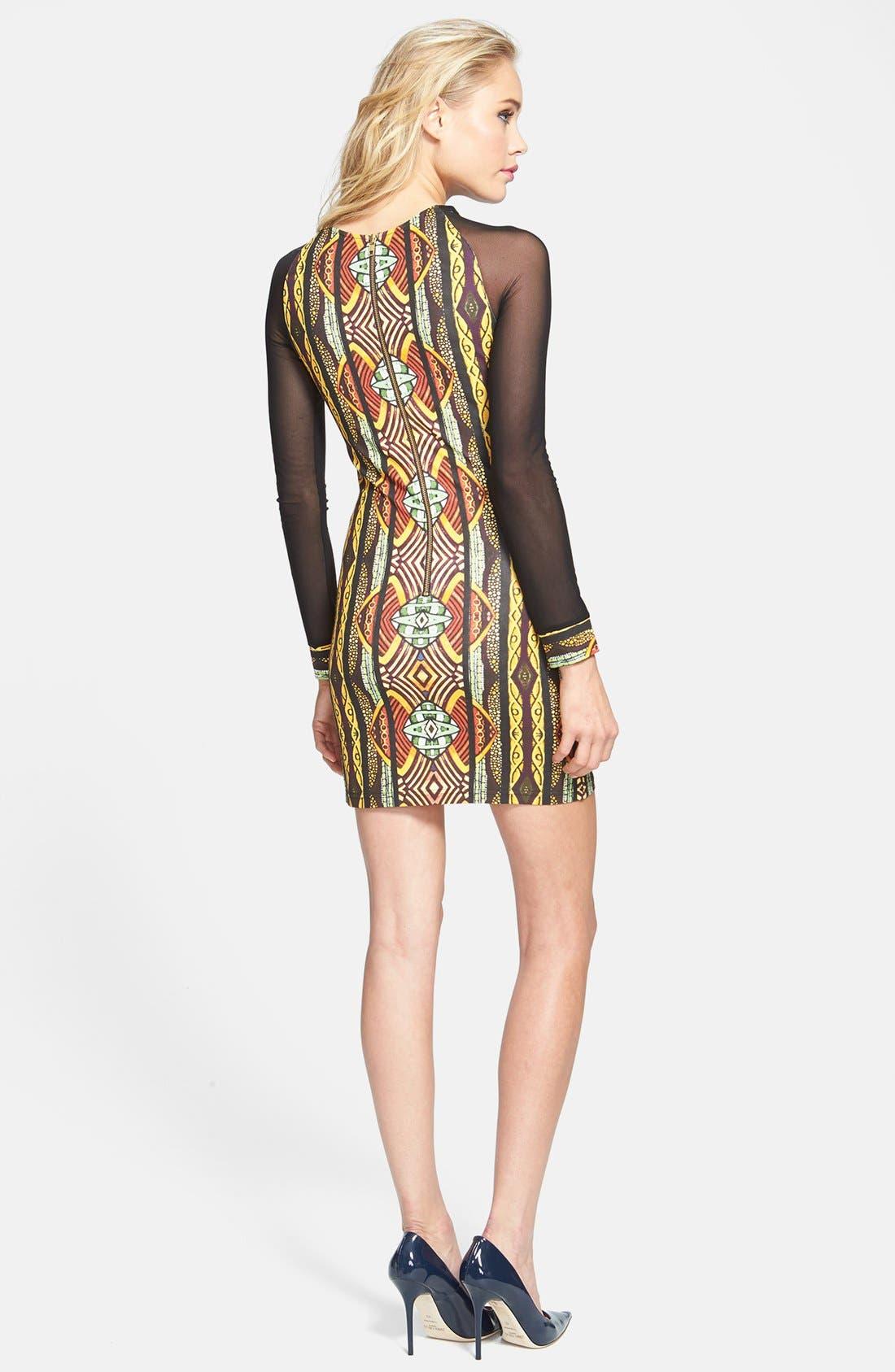Alternate Image 2  - MINKPINK 'Tiki Hut' Mesh Sleeve Print Body-Con Dress