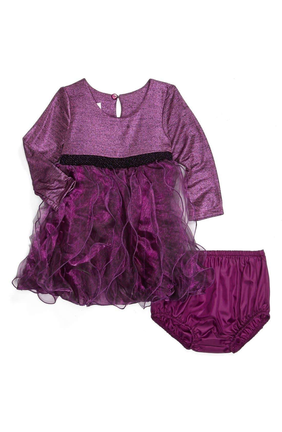 Main Image - Iris & Ivy Foil Knit Long Sleeve Dress (Baby Girls)