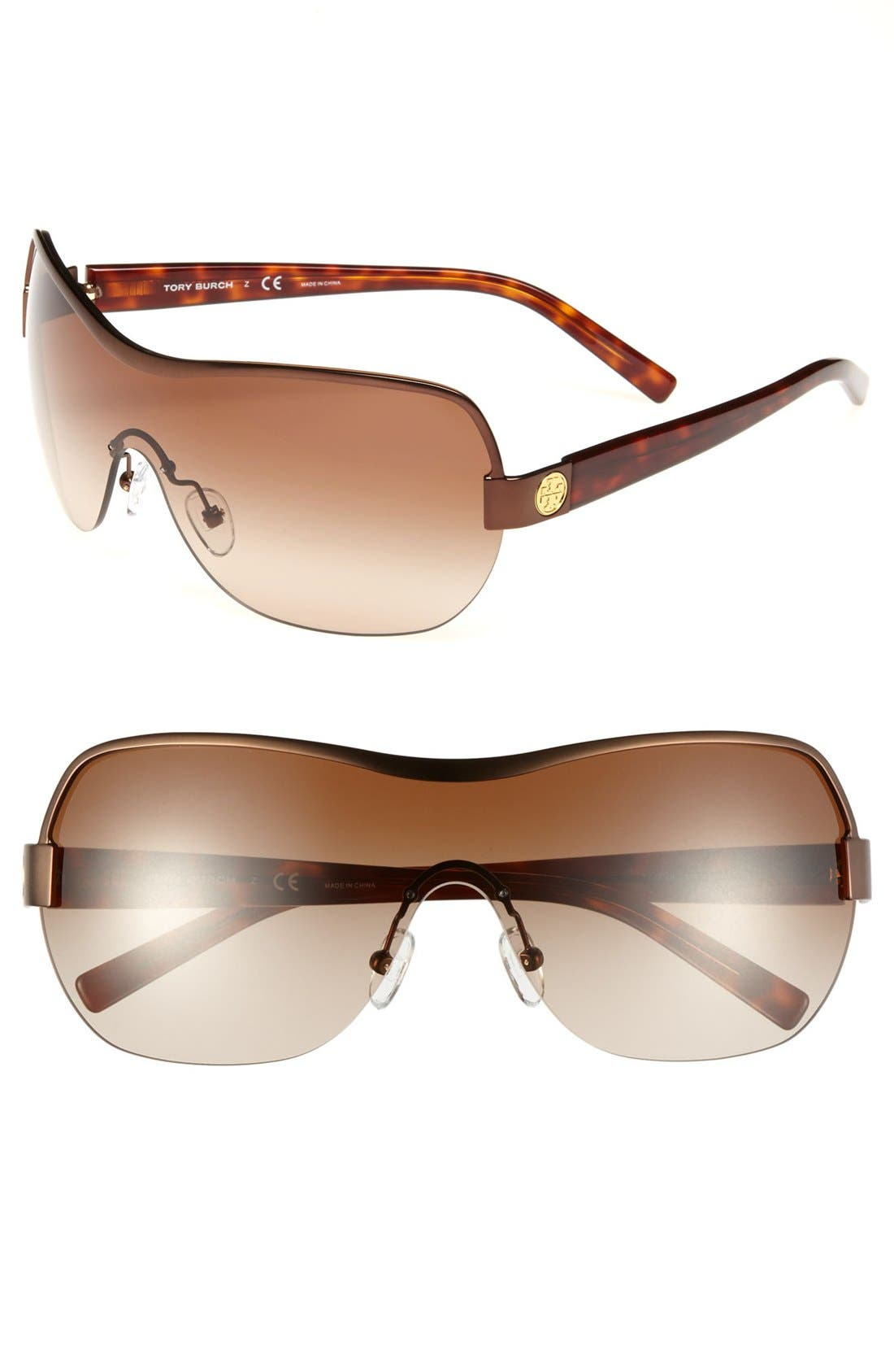 Main Image - Tory Burch 132mm Semi Rimless Shield Sunglasses