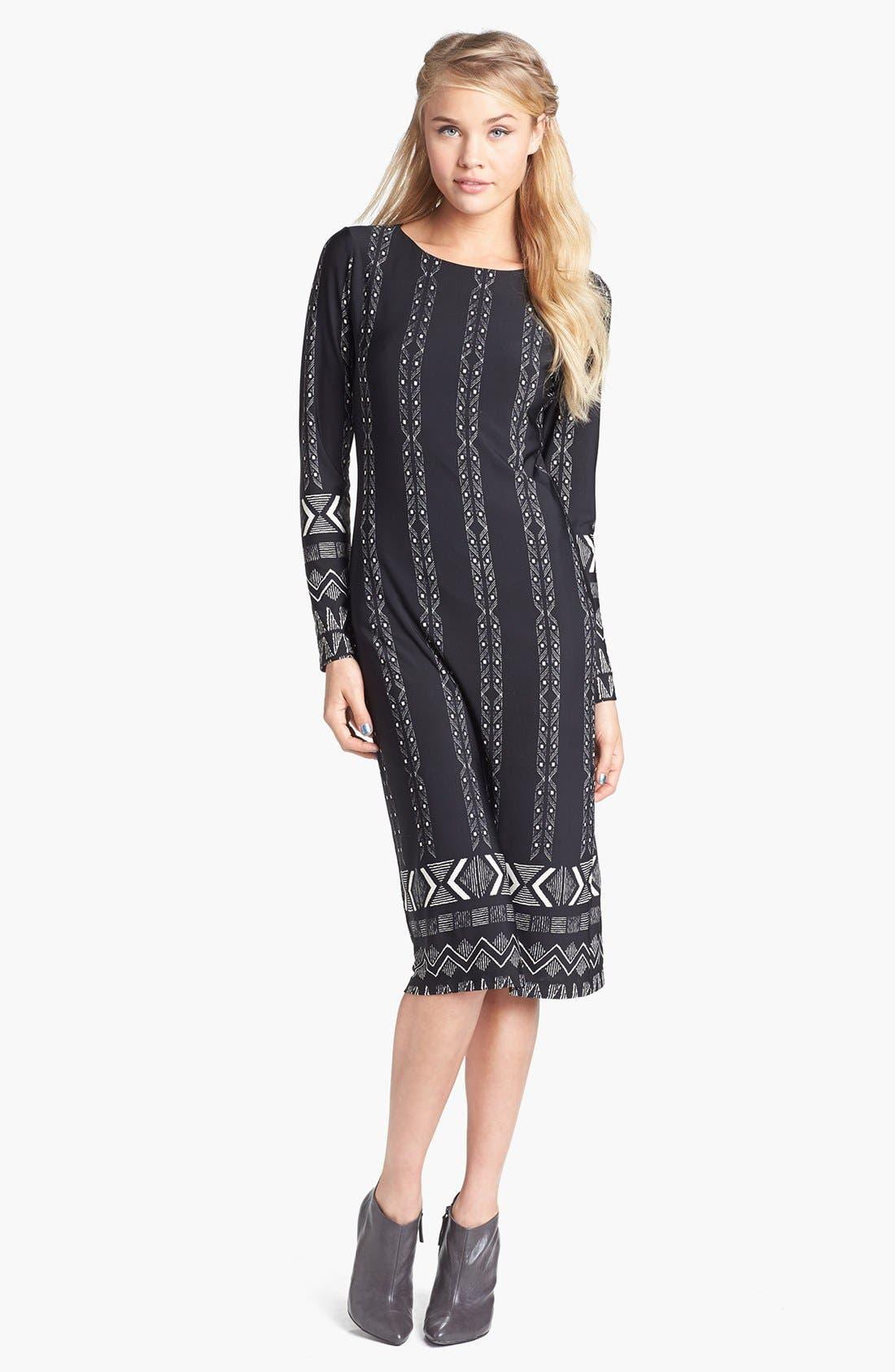 Alternate Image 1 Selected - Minty Print Midi Dress (Juniors)