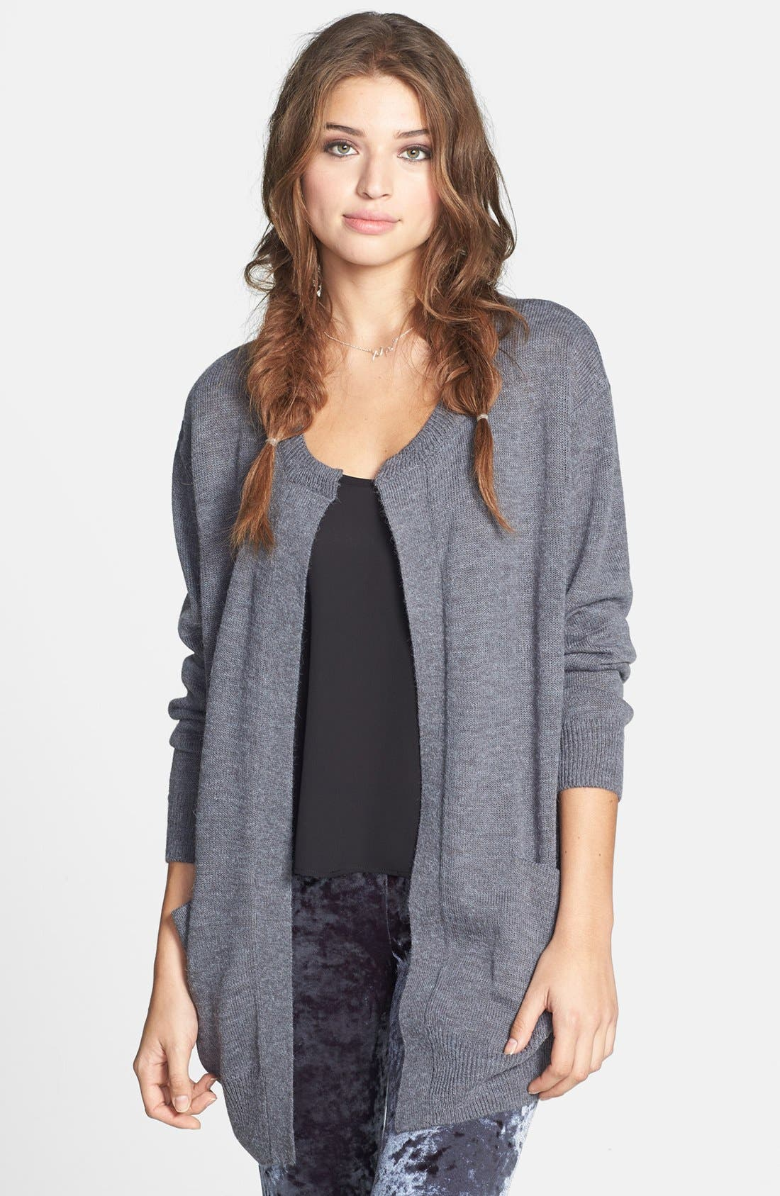Alternate Image 1 Selected - Cotton Emporium Open Front Long Cardigan (Juniors)