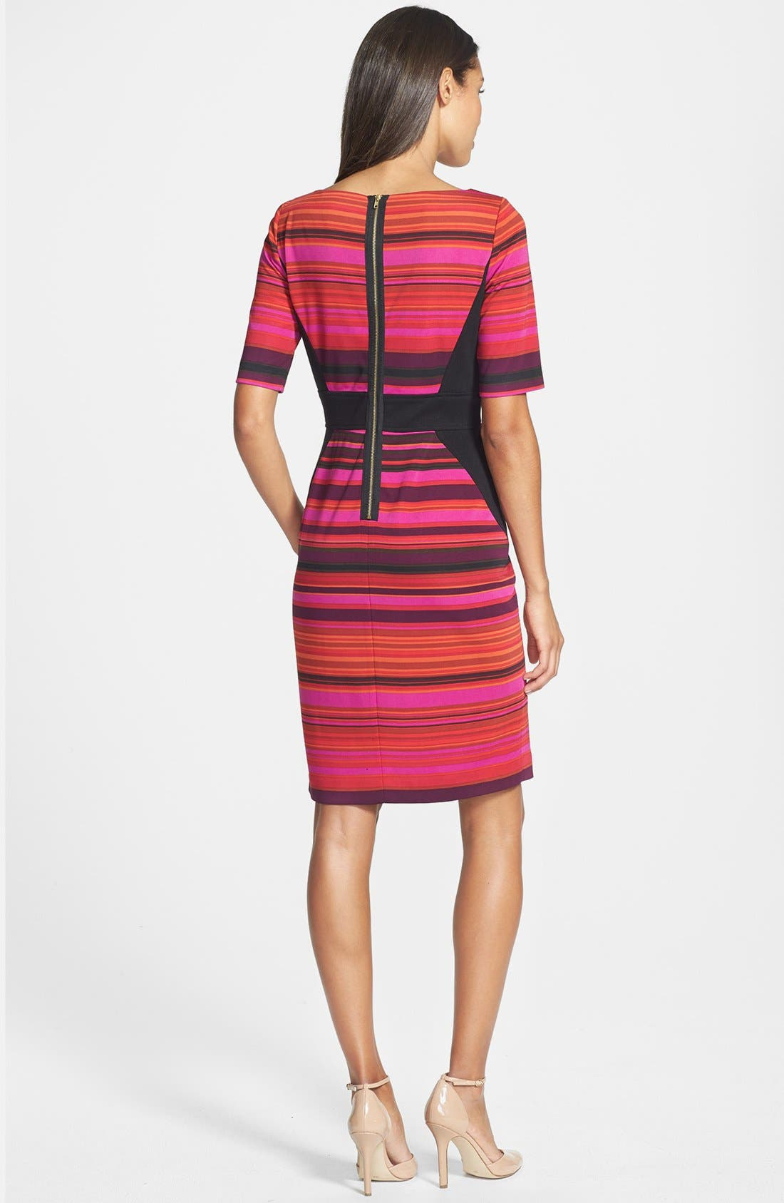 Alternate Image 2  - Maggy London Stripe Ponte Sheath Dress