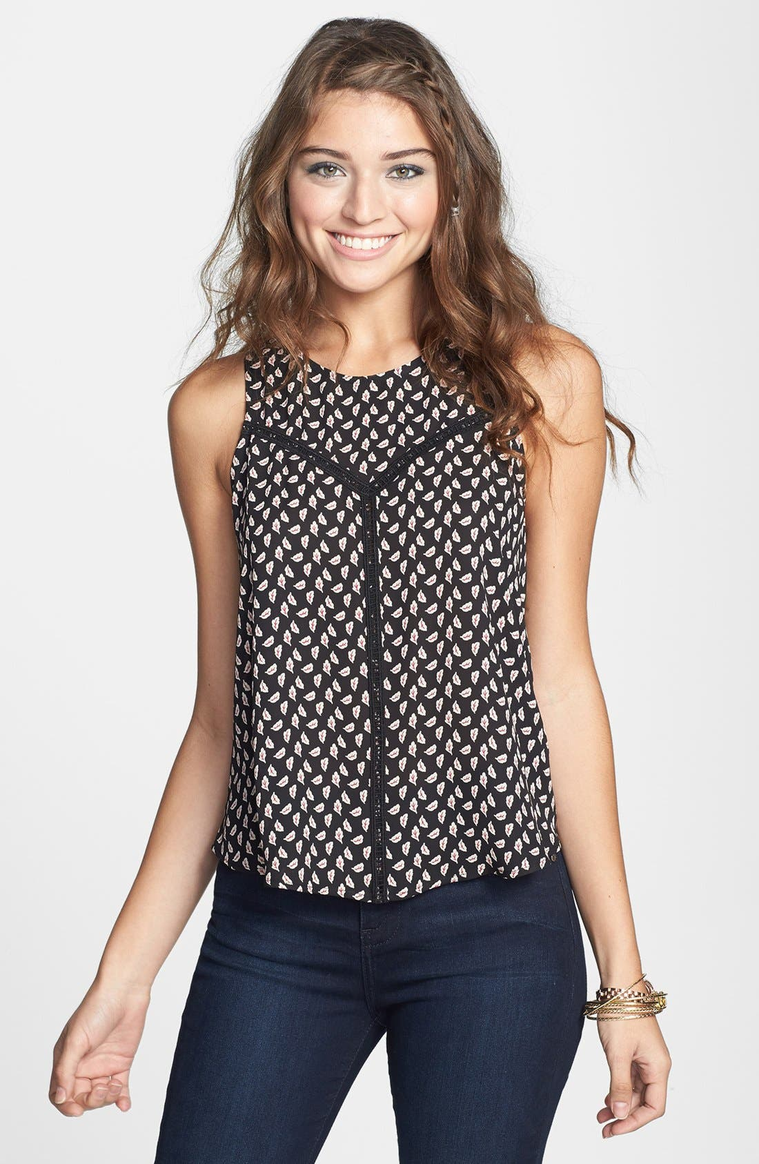 Main Image - Lush Crochet Trim Woven Tank (Juniors)