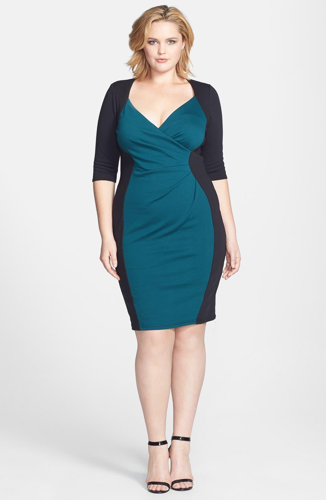 Main Image - Scarlett & Jo Colorblock Wrap Front Sheath Dress (Plus Size)