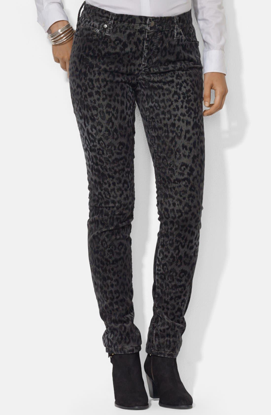 Alternate Image 1 Selected - Lauren Ralph Lauren Straight Leg Print Corduroy Pants (Petite)