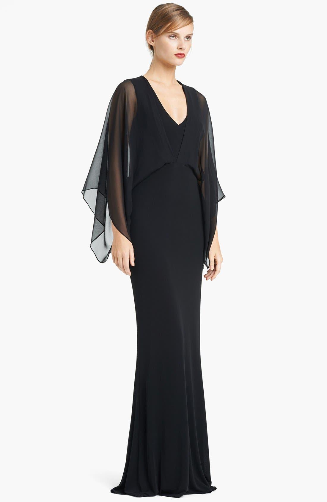 Main Image - Lida Baday Chiffon Overlay Matte Jersey Gown