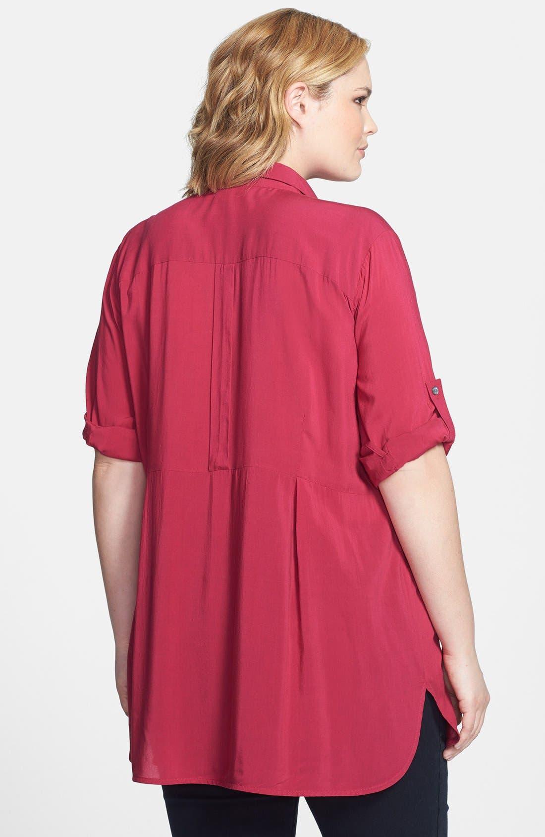 Alternate Image 2  - Sandra Ingrish Button Tab Sleeve Tunic (Plus Size)