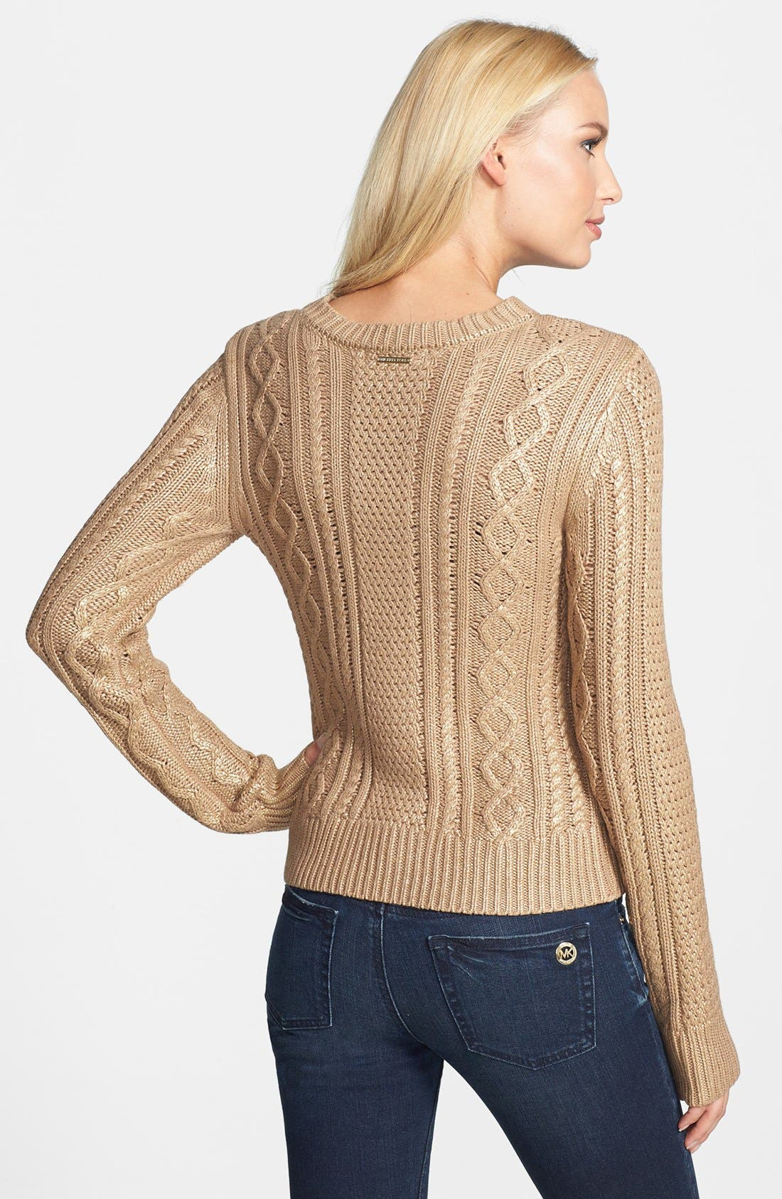 Alternate Image 2  - MICHAEL Michael Kors Foiled Cable Knit Cotton Blend Sweater
