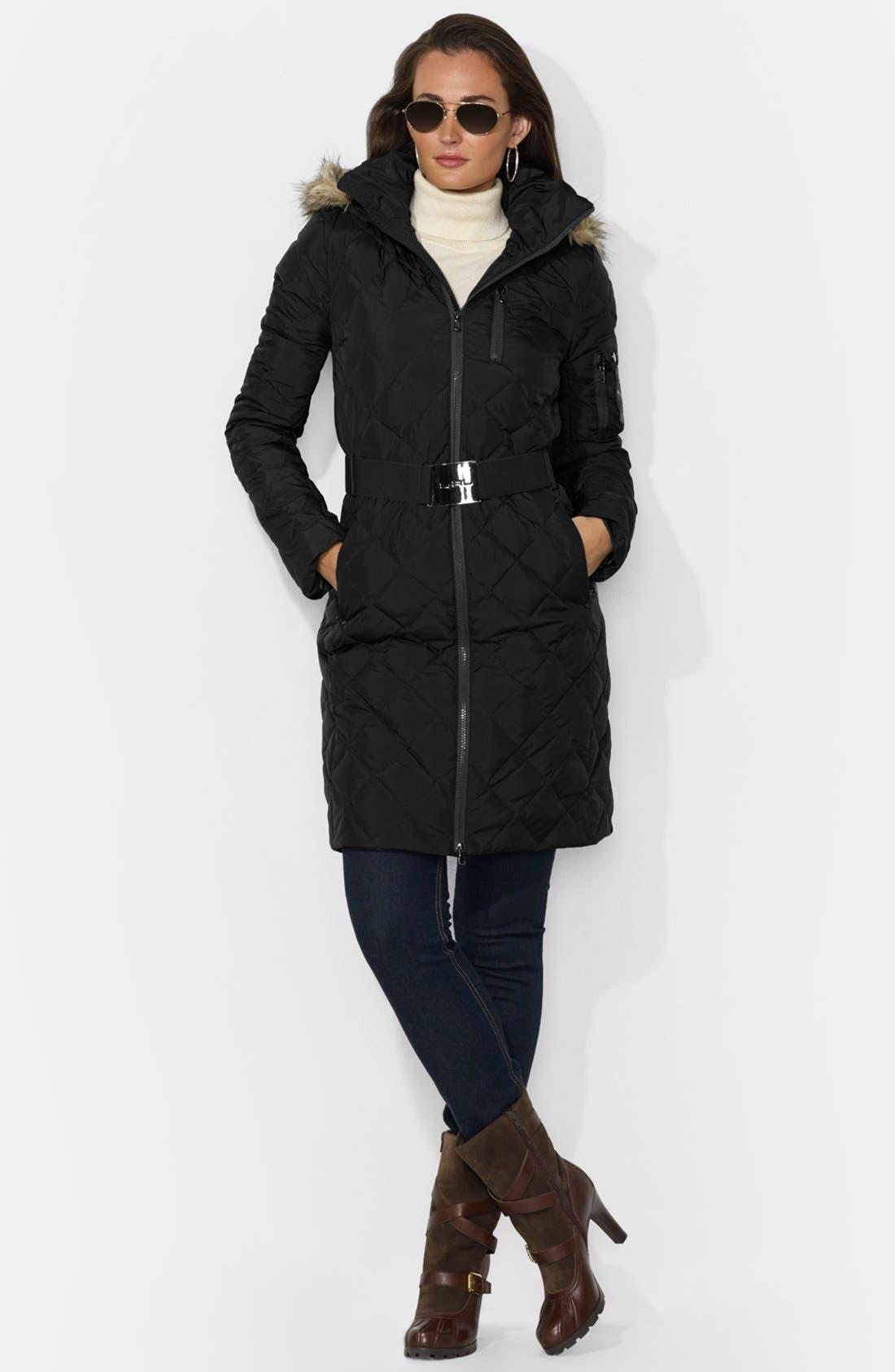 Main Image - Lauren Ralph Lauren Faux Fur Trim Belted Down Coat