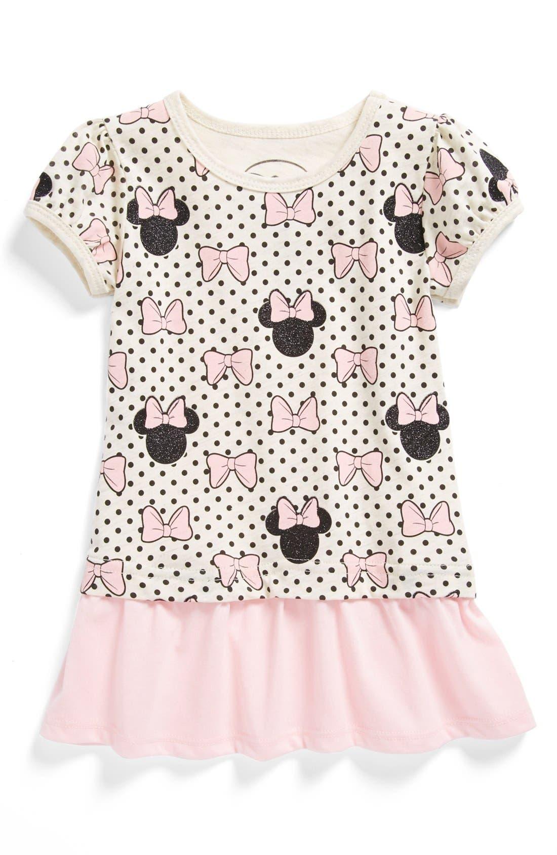 Main Image - Mighty Fine 'Minnie' Polka Dot Peplum Tee (Little Girls)