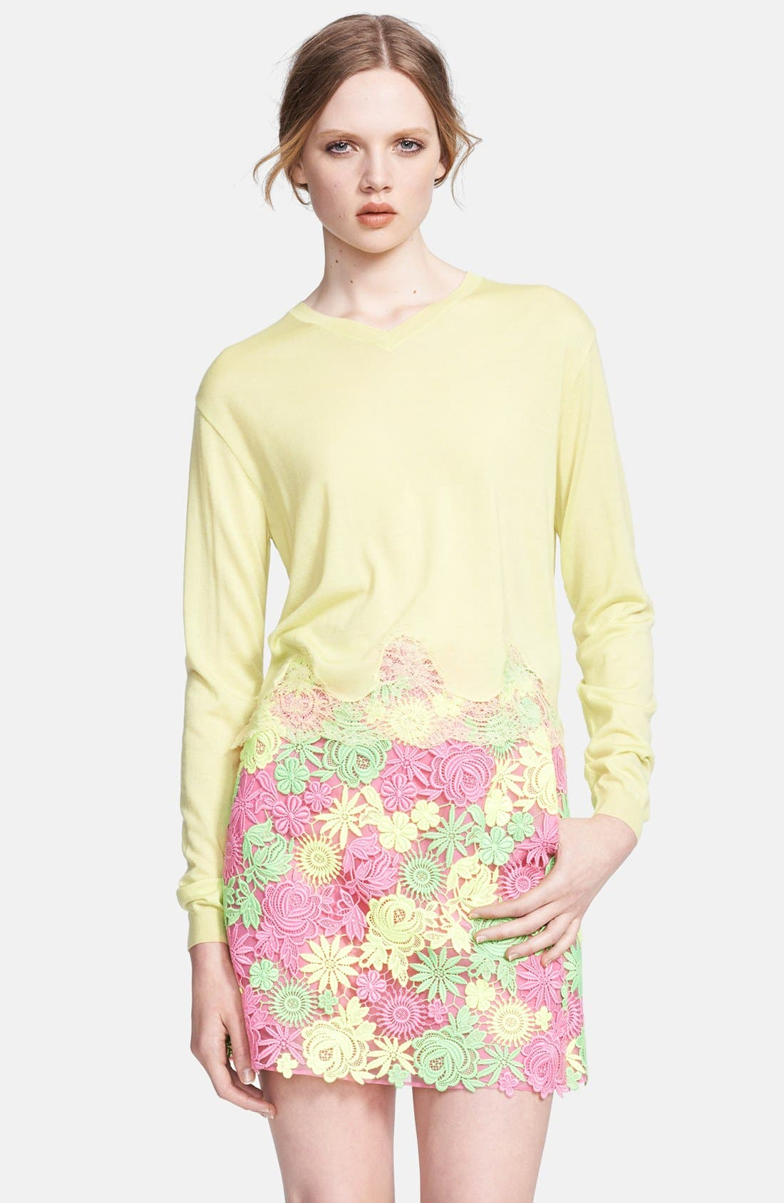 Alternate Image 1 Selected - Valentino Scalloped Lace Hem Top