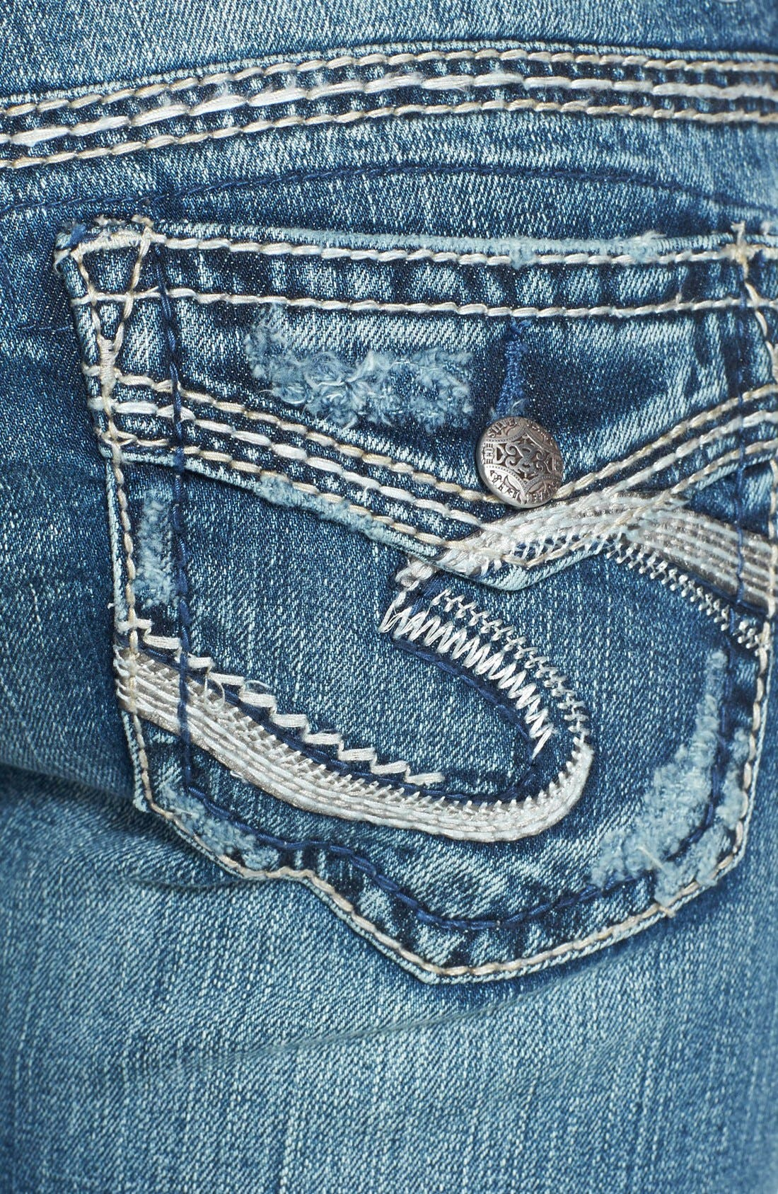 Alternate Image 3  - Silver Jeans Co. 'Aiko' Faux Flap Pocket Distressed Bootcut Jeans (Indigo)